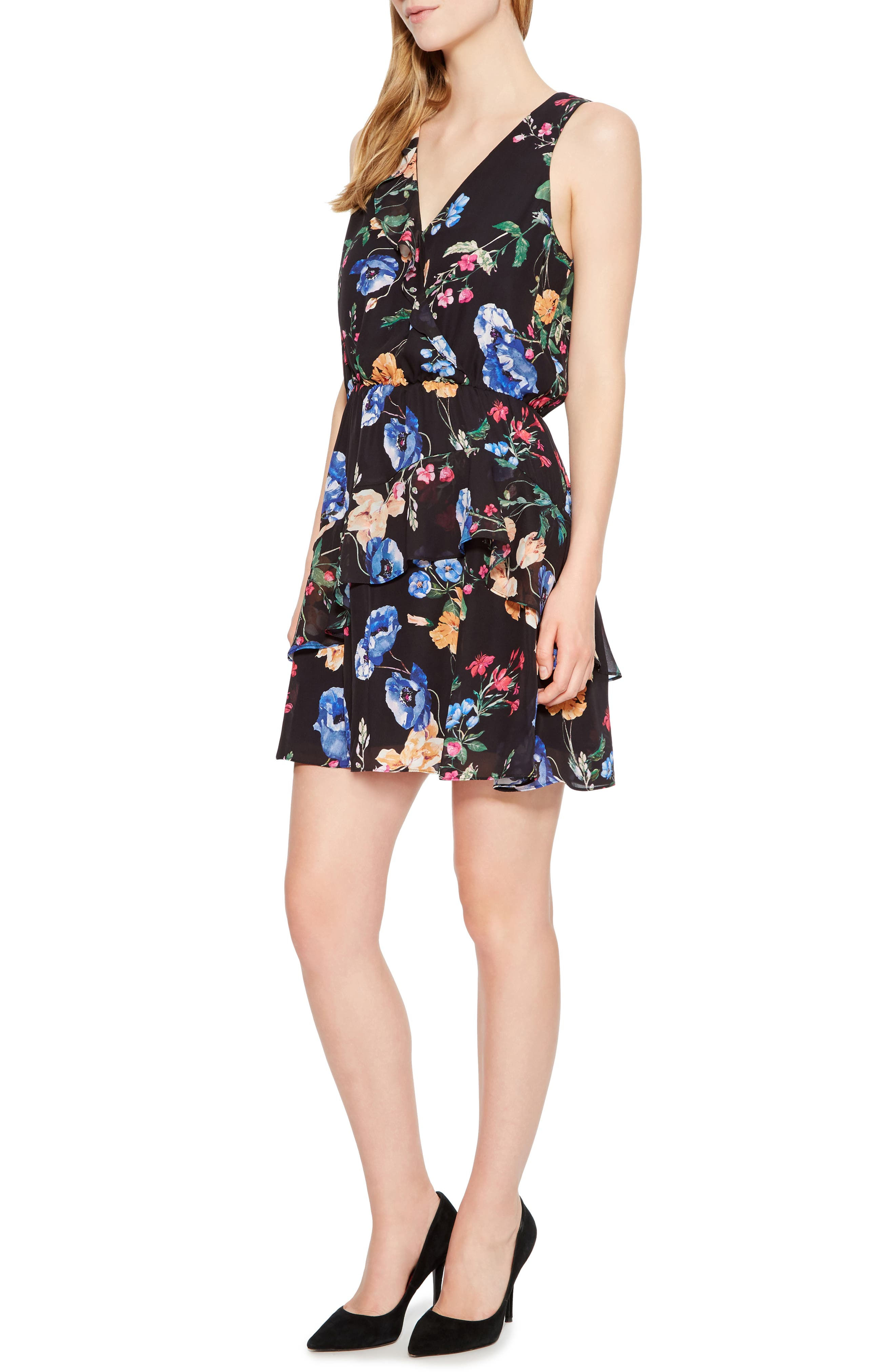 PARKER,                             Lexi Floral Dress,                             Alternate thumbnail 3, color,                             002
