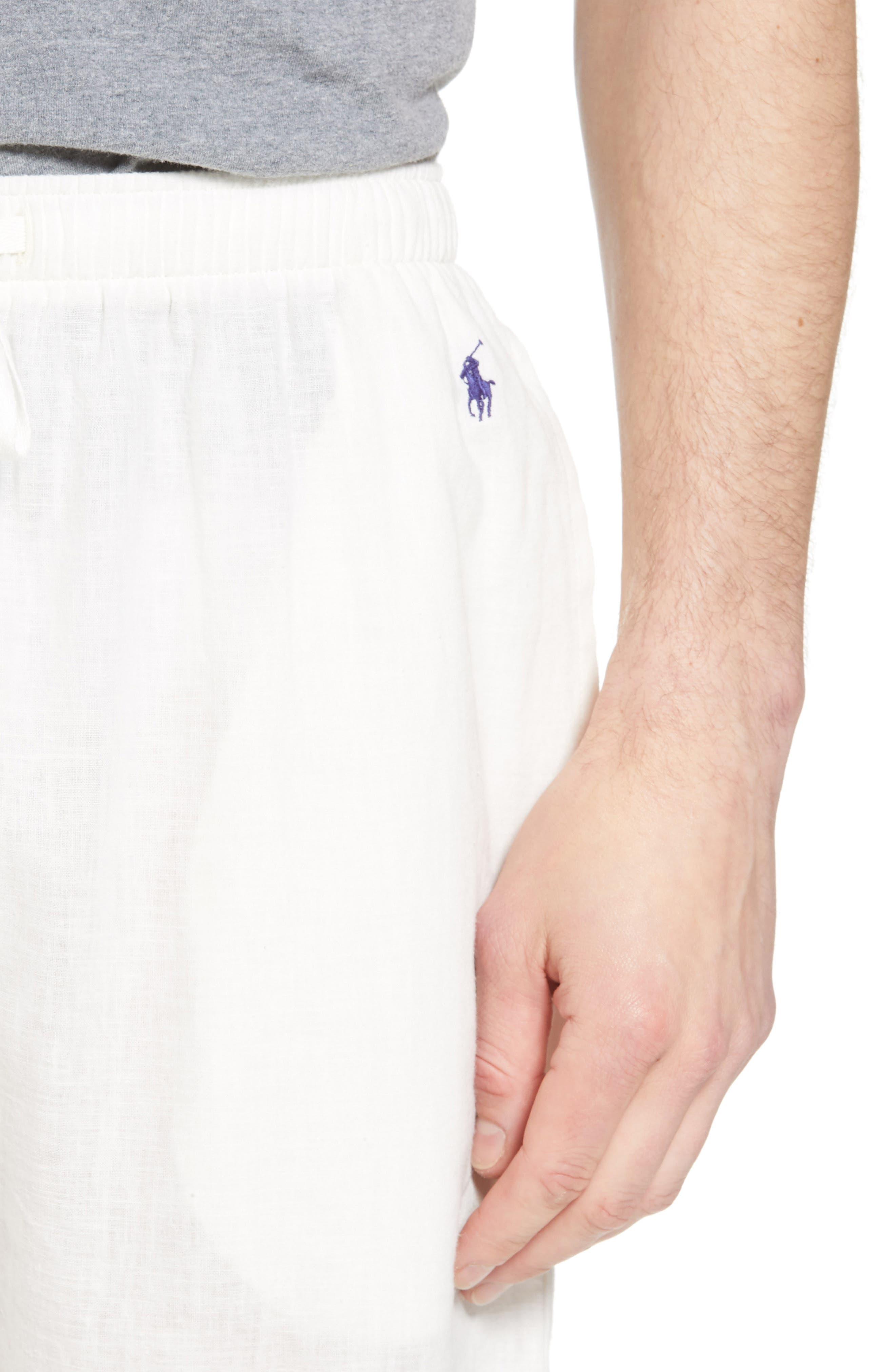 Walker Cotton & Linen Lounge Pants,                             Alternate thumbnail 4, color,                             NEVIS/ BRIGHT NAVY