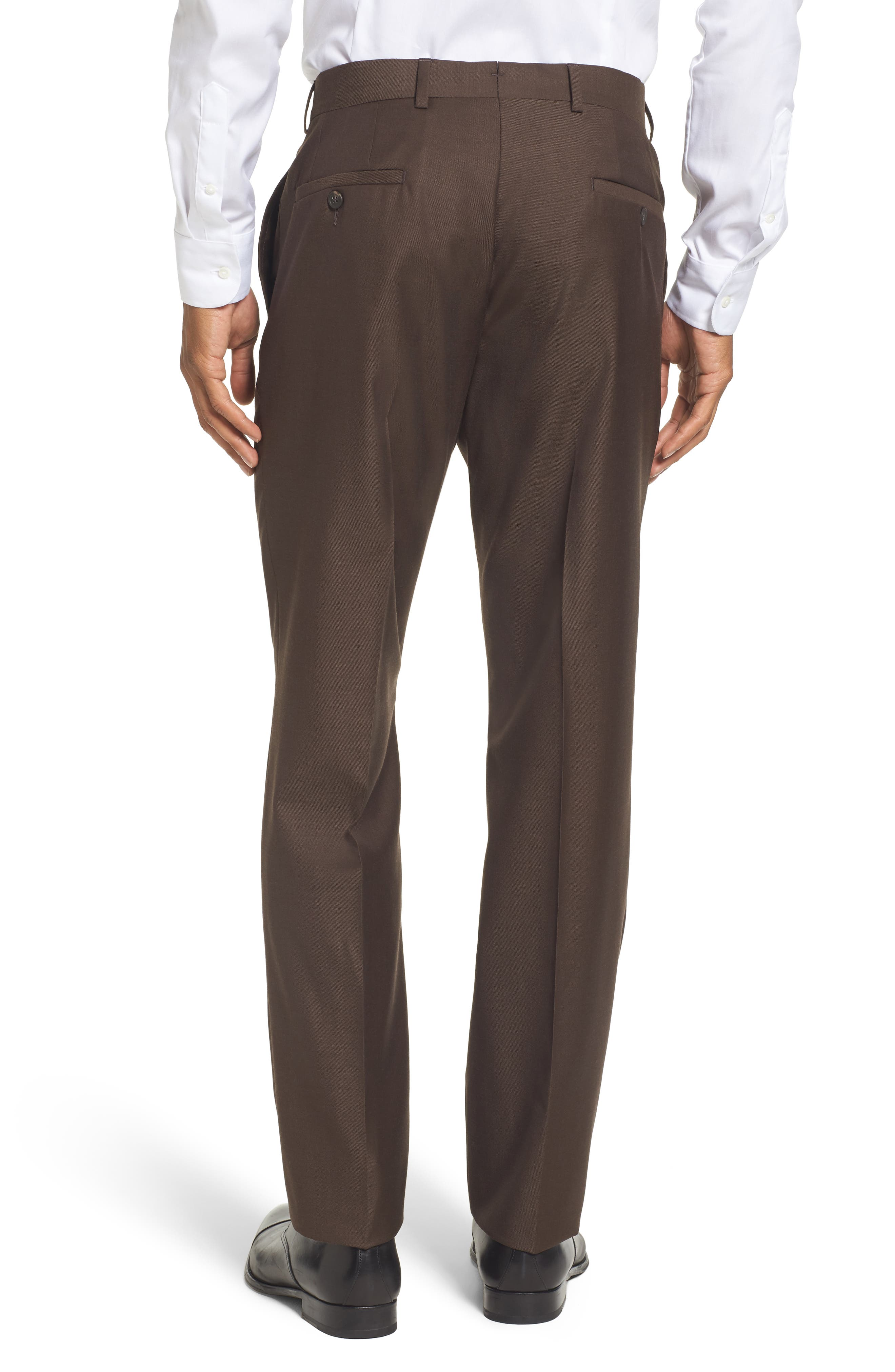Flat Front Solid Wool Trousers,                             Alternate thumbnail 16, color,