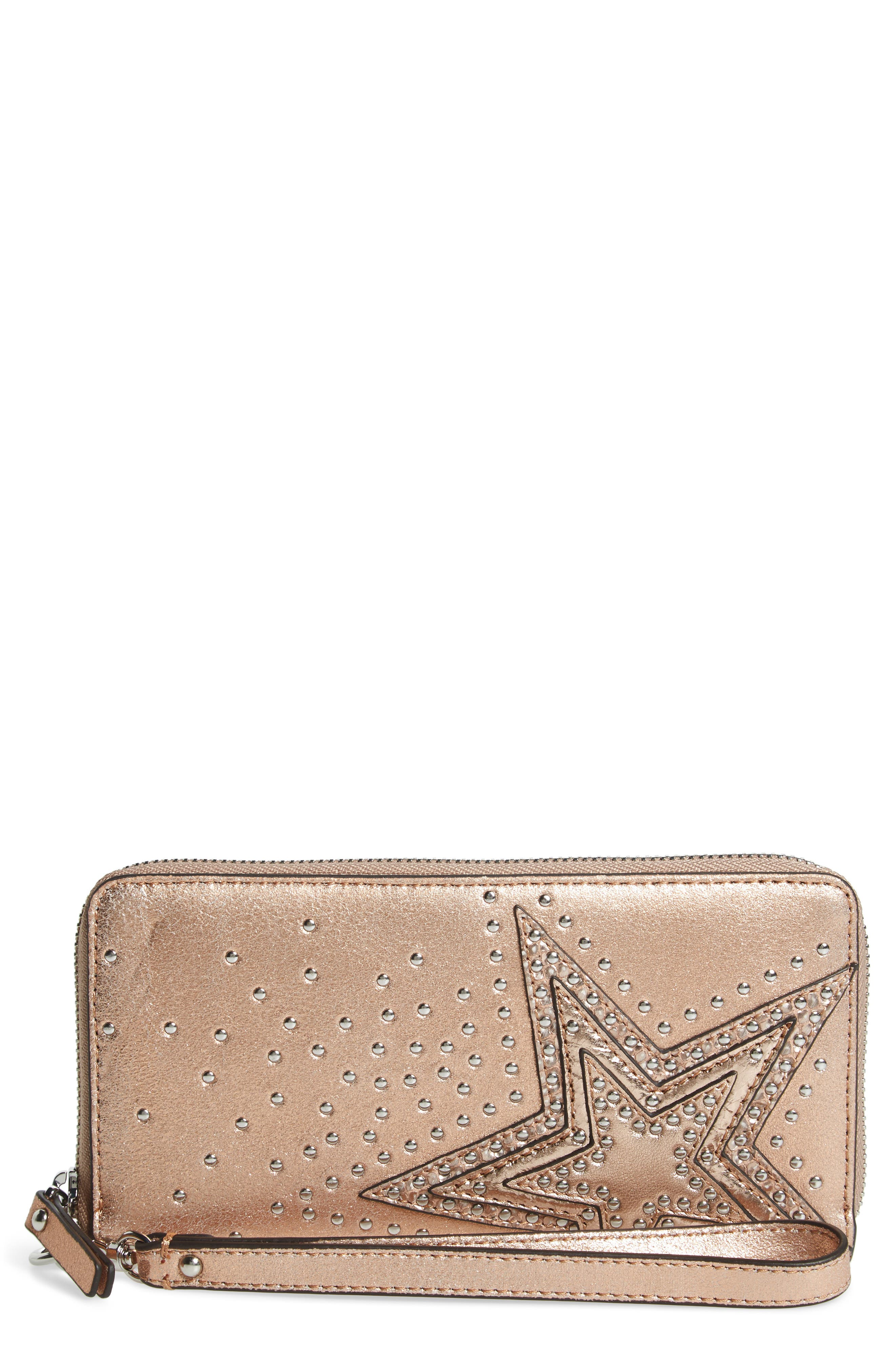 Taz Leather Zip Around Wallet,                             Main thumbnail 1, color,                             ROSE GOLD