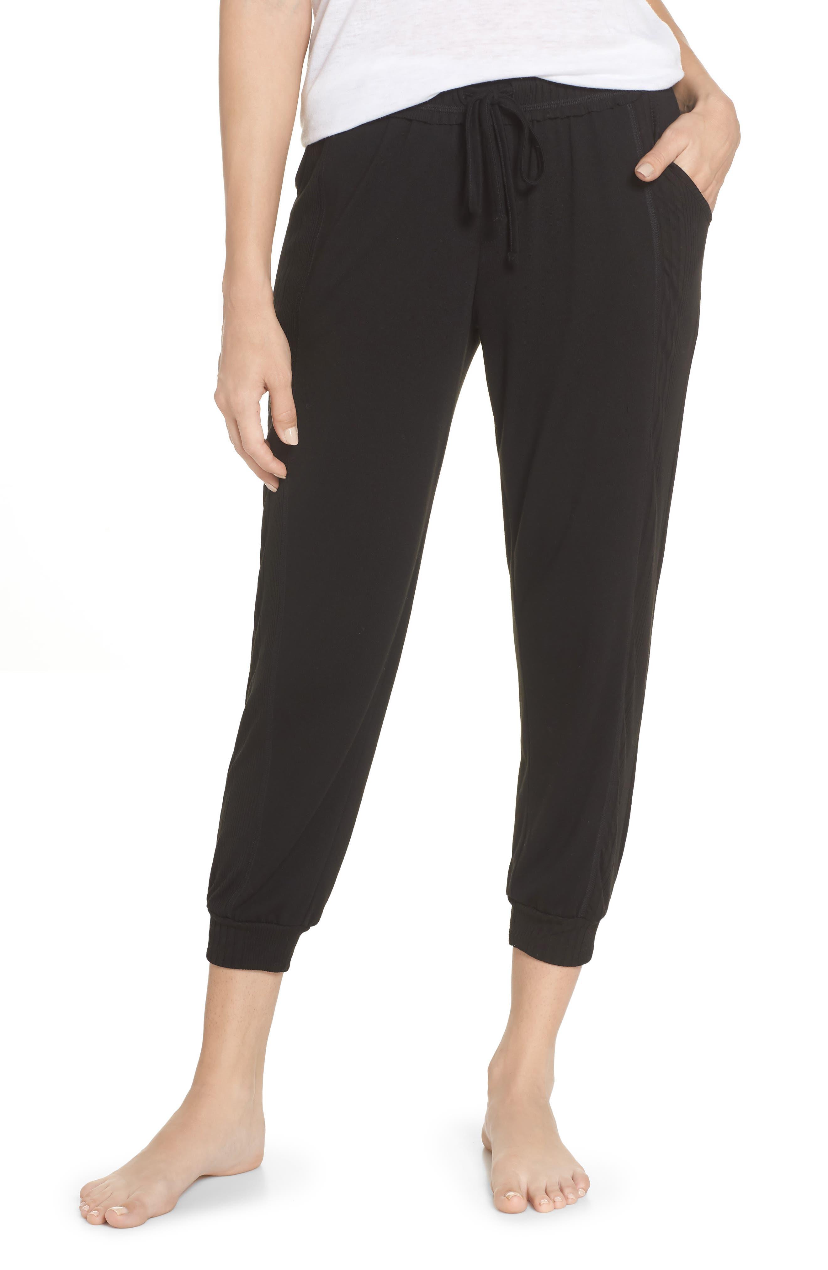 Crop Pajama Pants,                             Main thumbnail 1, color,                             BLACK
