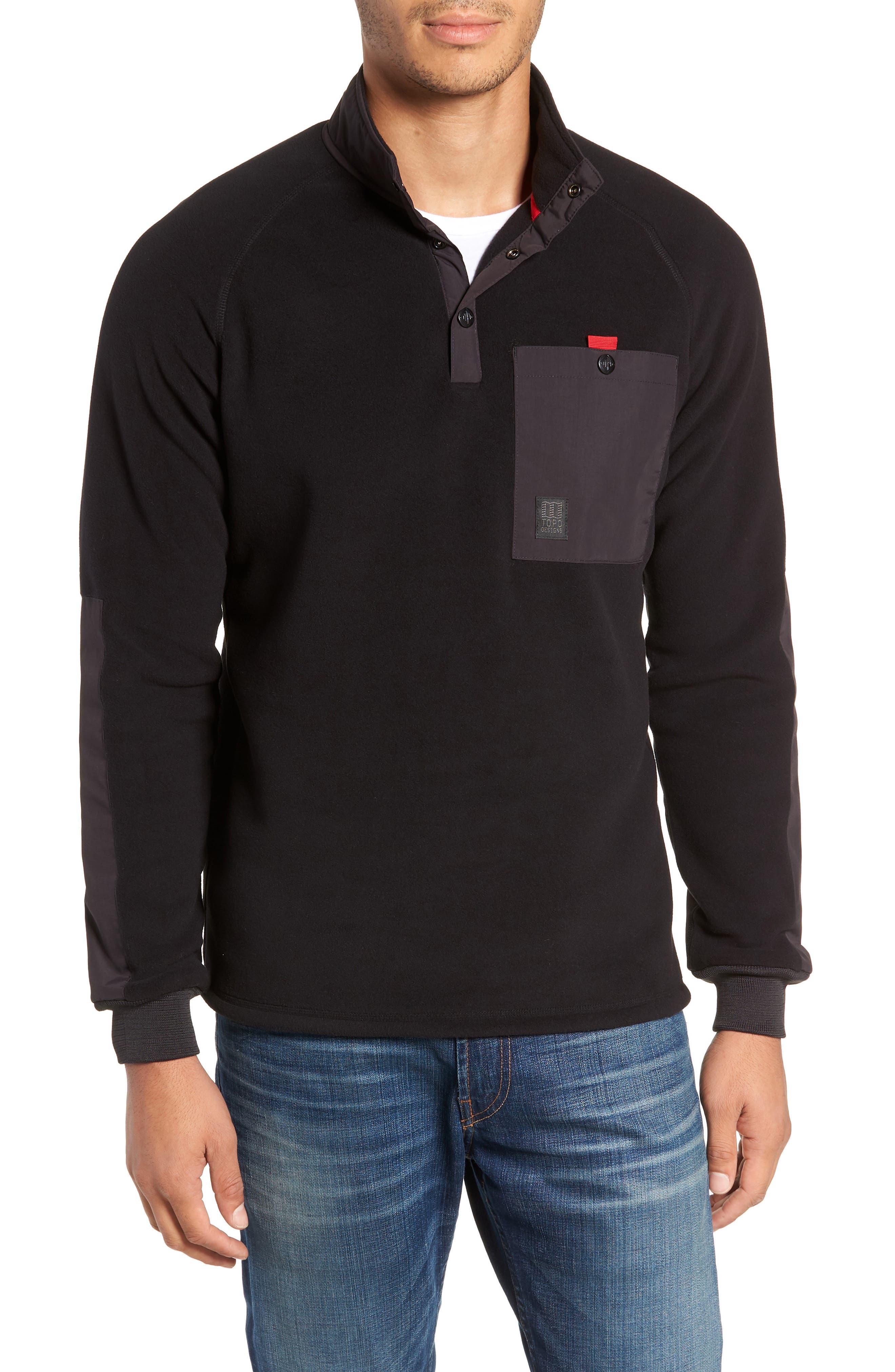 Mountain Fleece Pullover,                         Main,                         color, BLACK