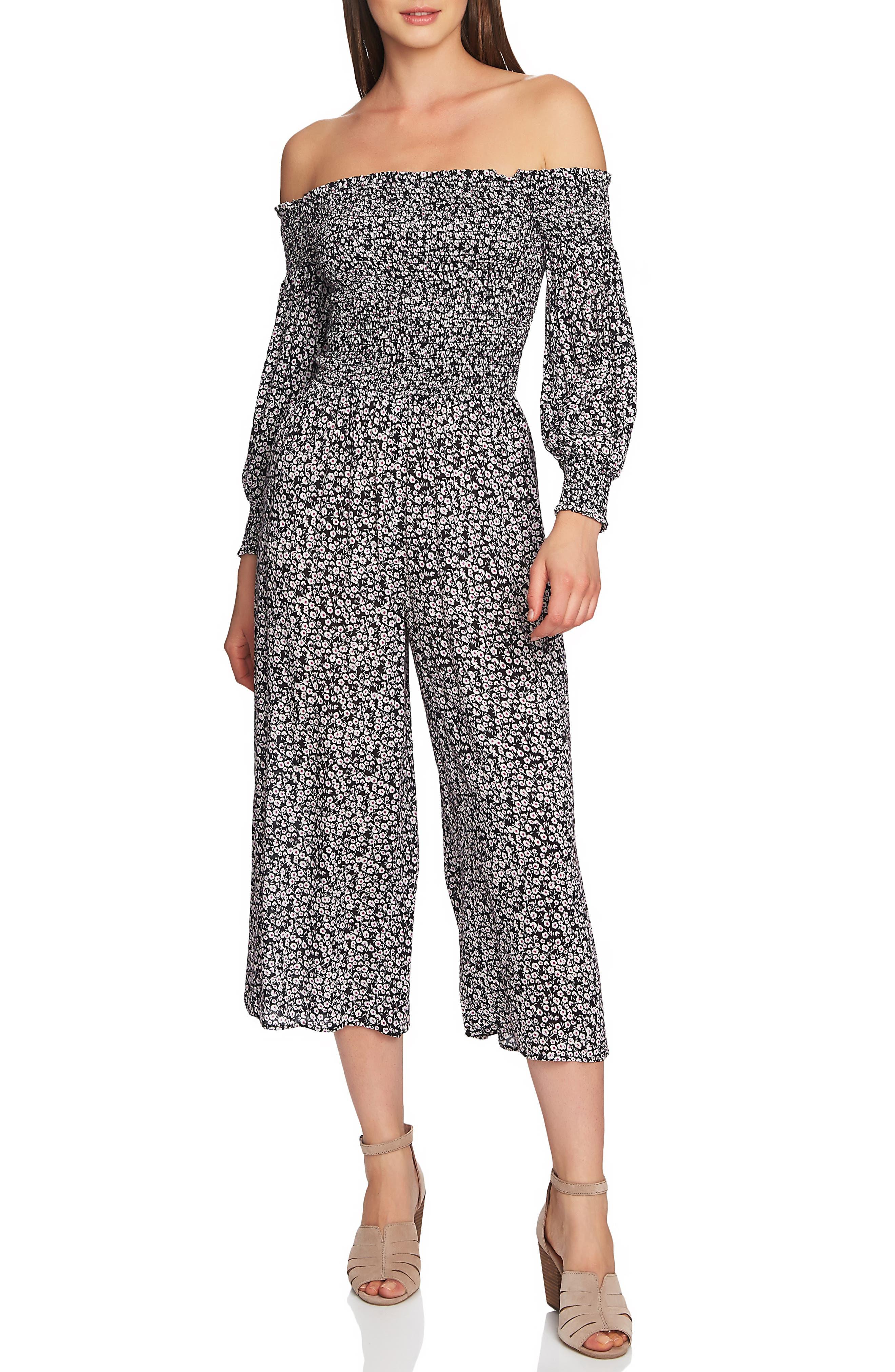 1.STATE Wildflower Off the Shoulder Crop Jumpsuit, Main, color, RICH BLACK PLUM