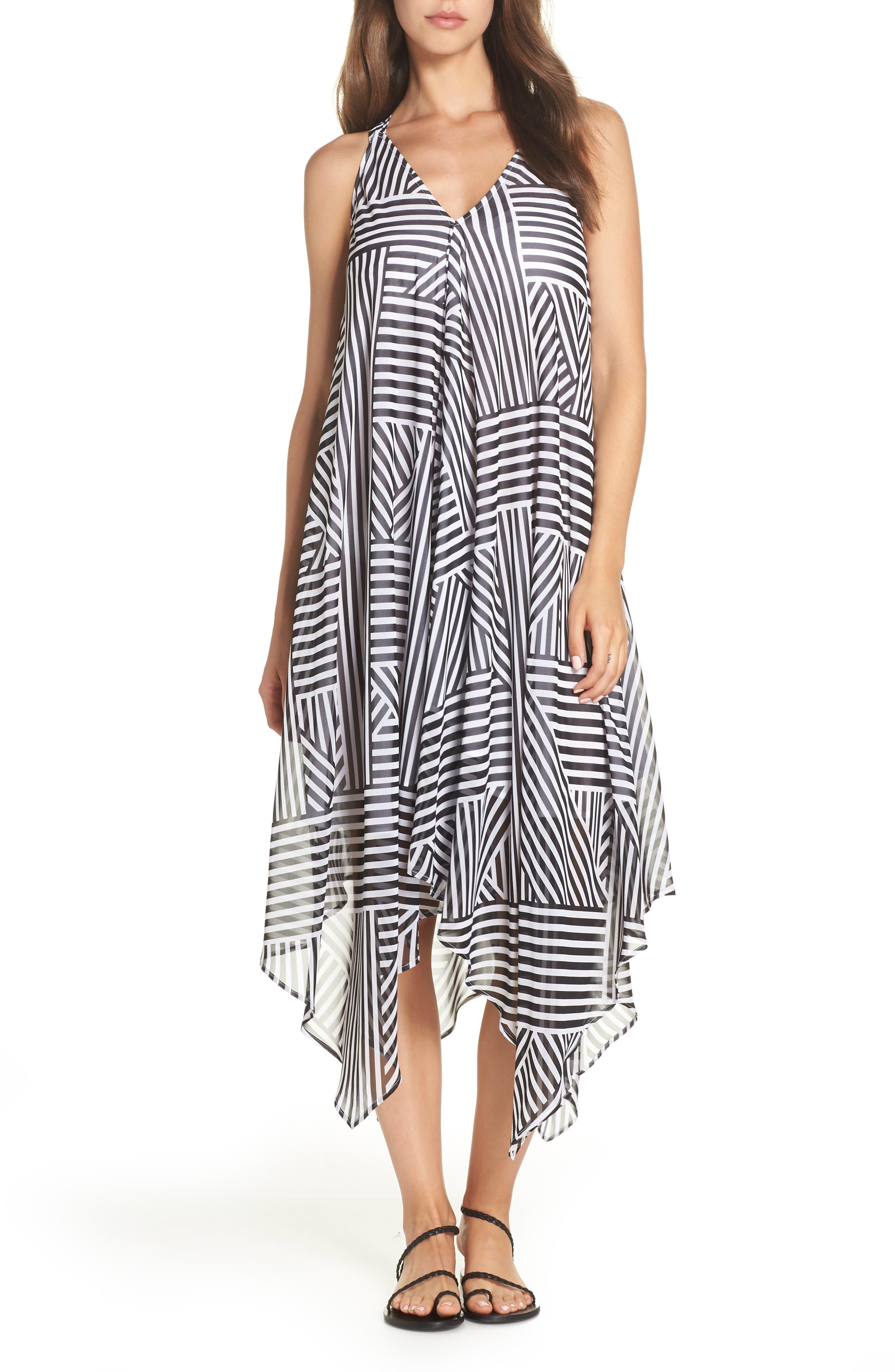 Tommy Bahama Fractured Stripe Scarf Print Cover-Up, Black