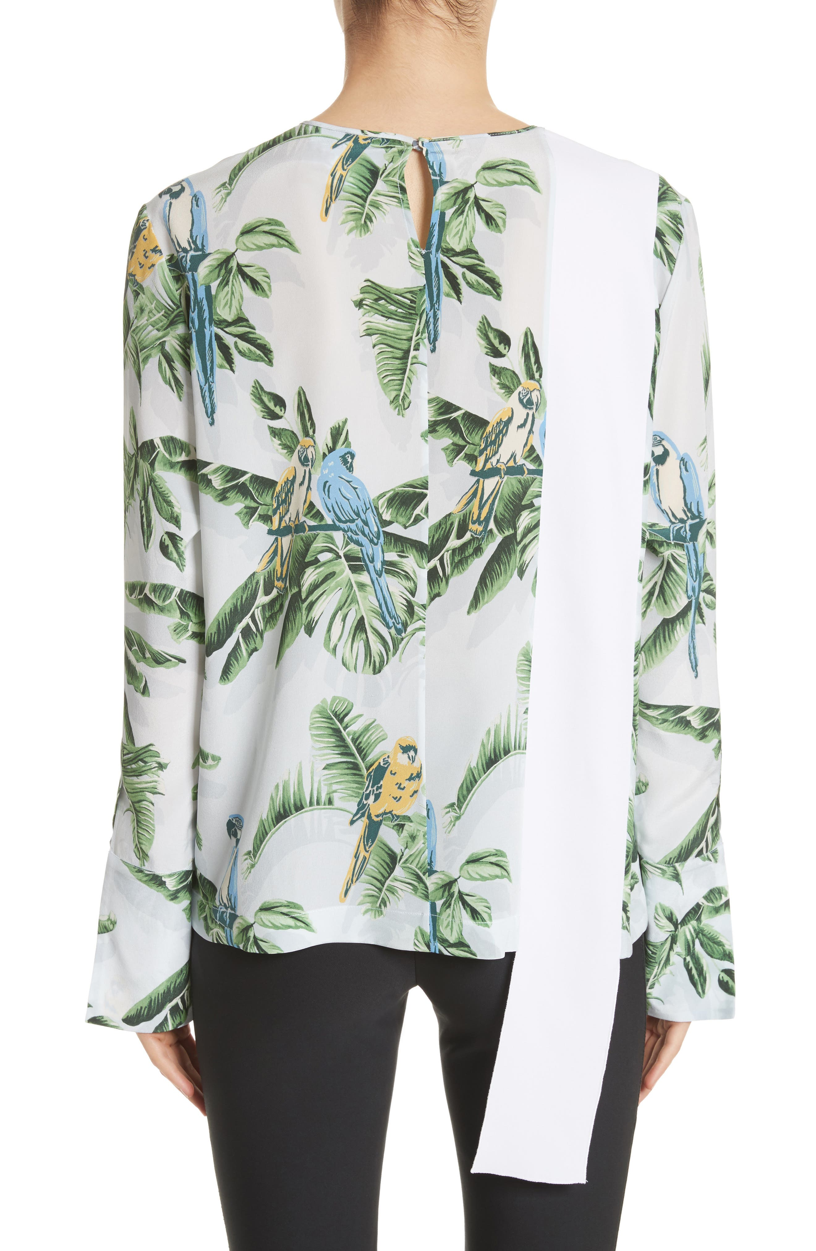 Claire Bird of Paradise Crêpe de Chine Blouse,                             Alternate thumbnail 2, color,