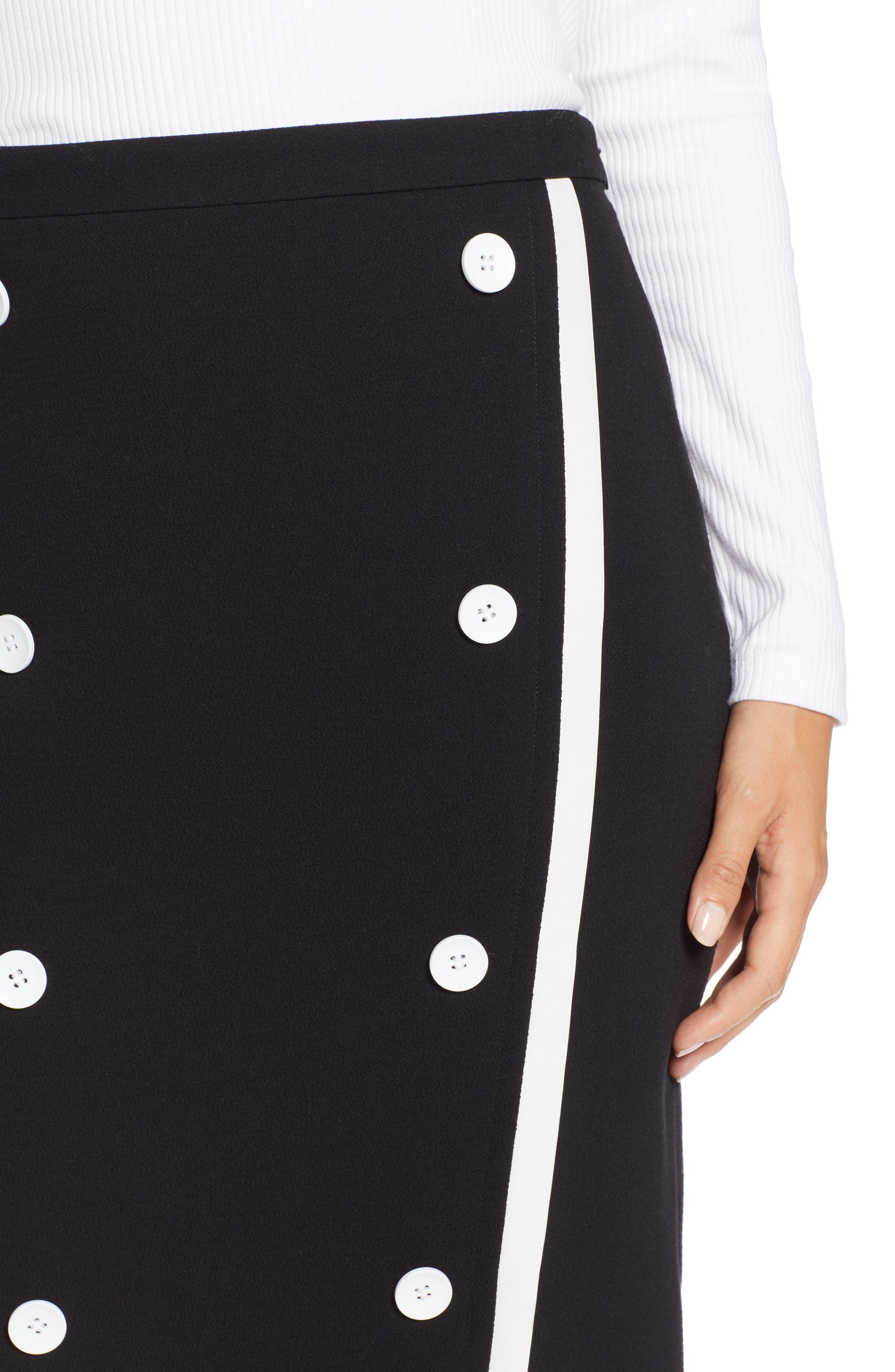 Button Detail Pencil Skirt,                             Alternate thumbnail 4, color,                             001