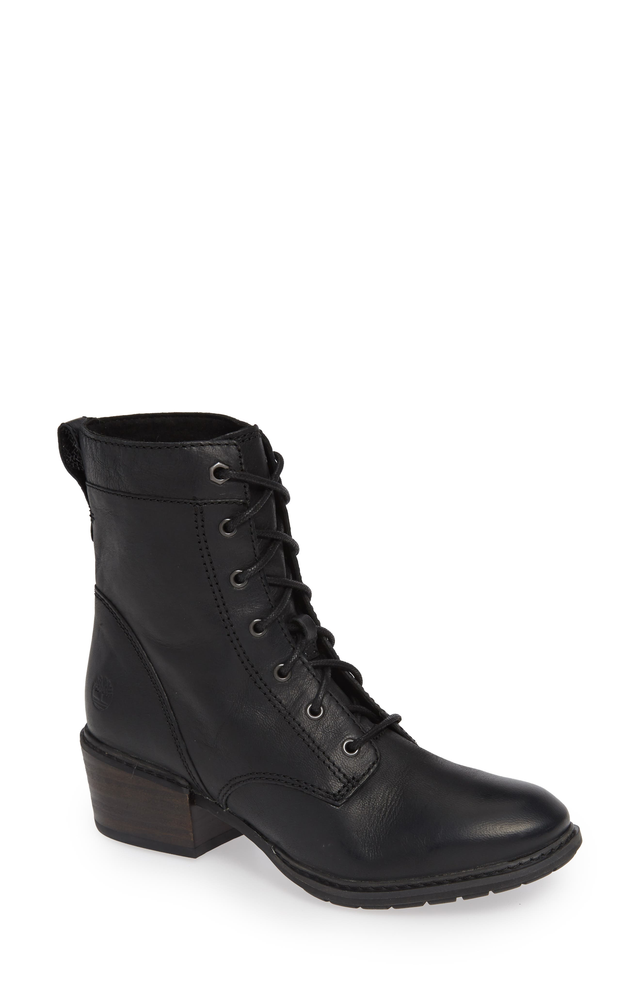 Sutherlin Bay Water Resistant Lace-Up Bootie,                             Main thumbnail 1, color,                             JET BLACK LEATHER