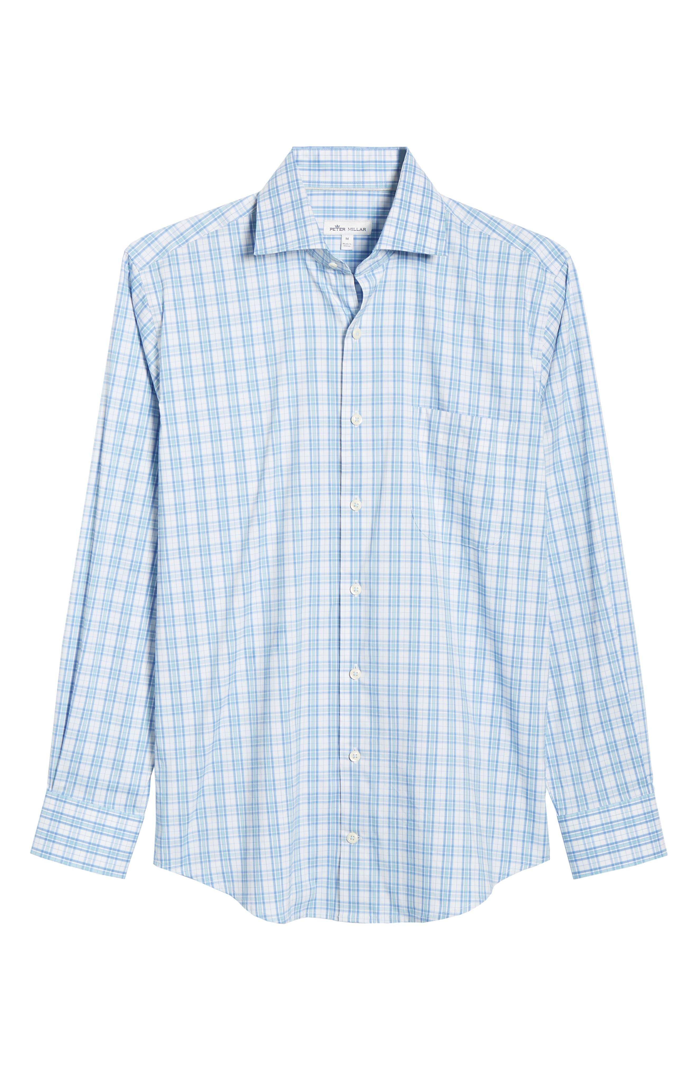 Portofino Tartan Performance Sport Shirt,                             Alternate thumbnail 5, color,                             VESSEL