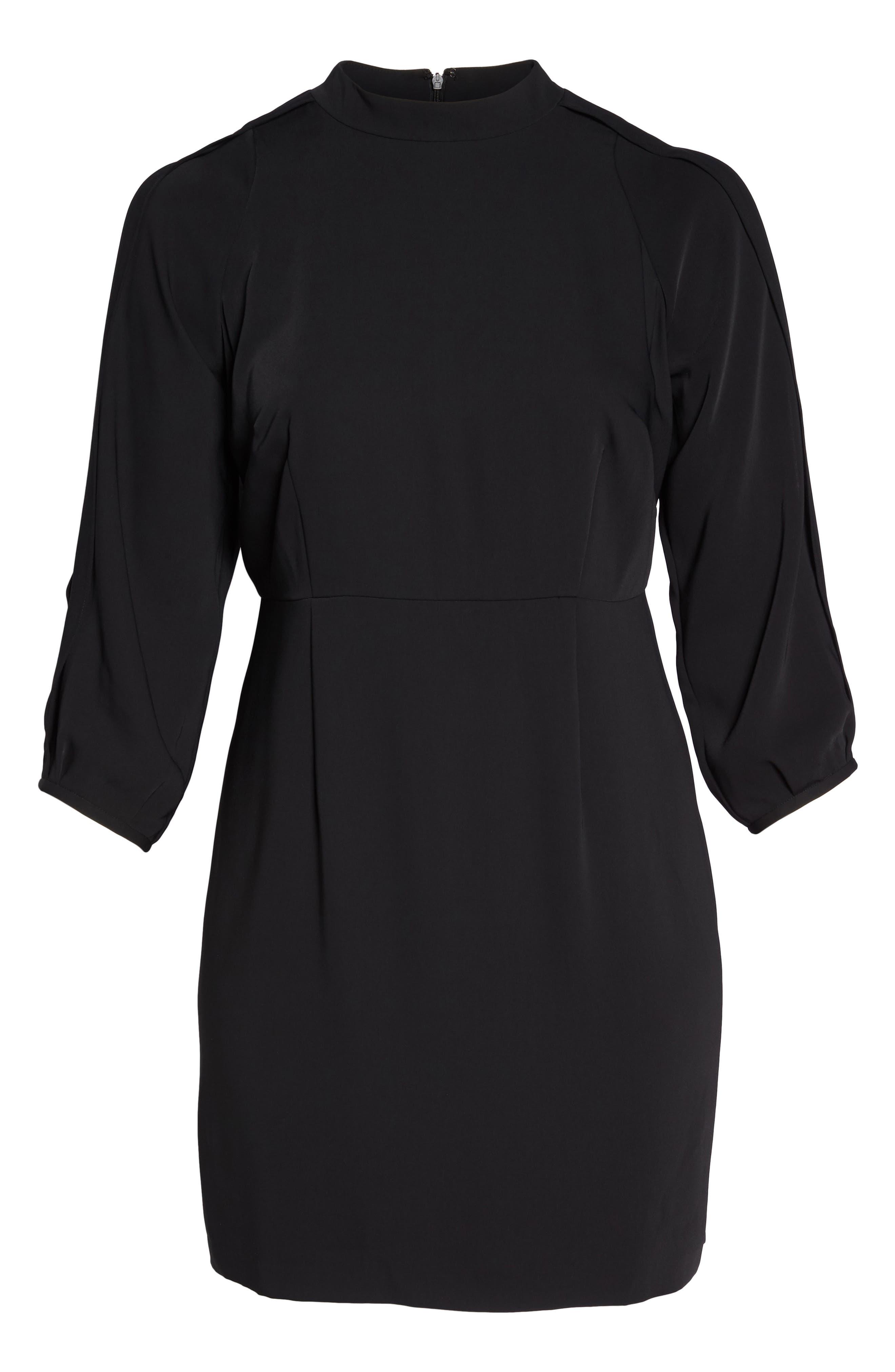 Mock Neck Split Sleeve Dress,                             Alternate thumbnail 6, color,                             001