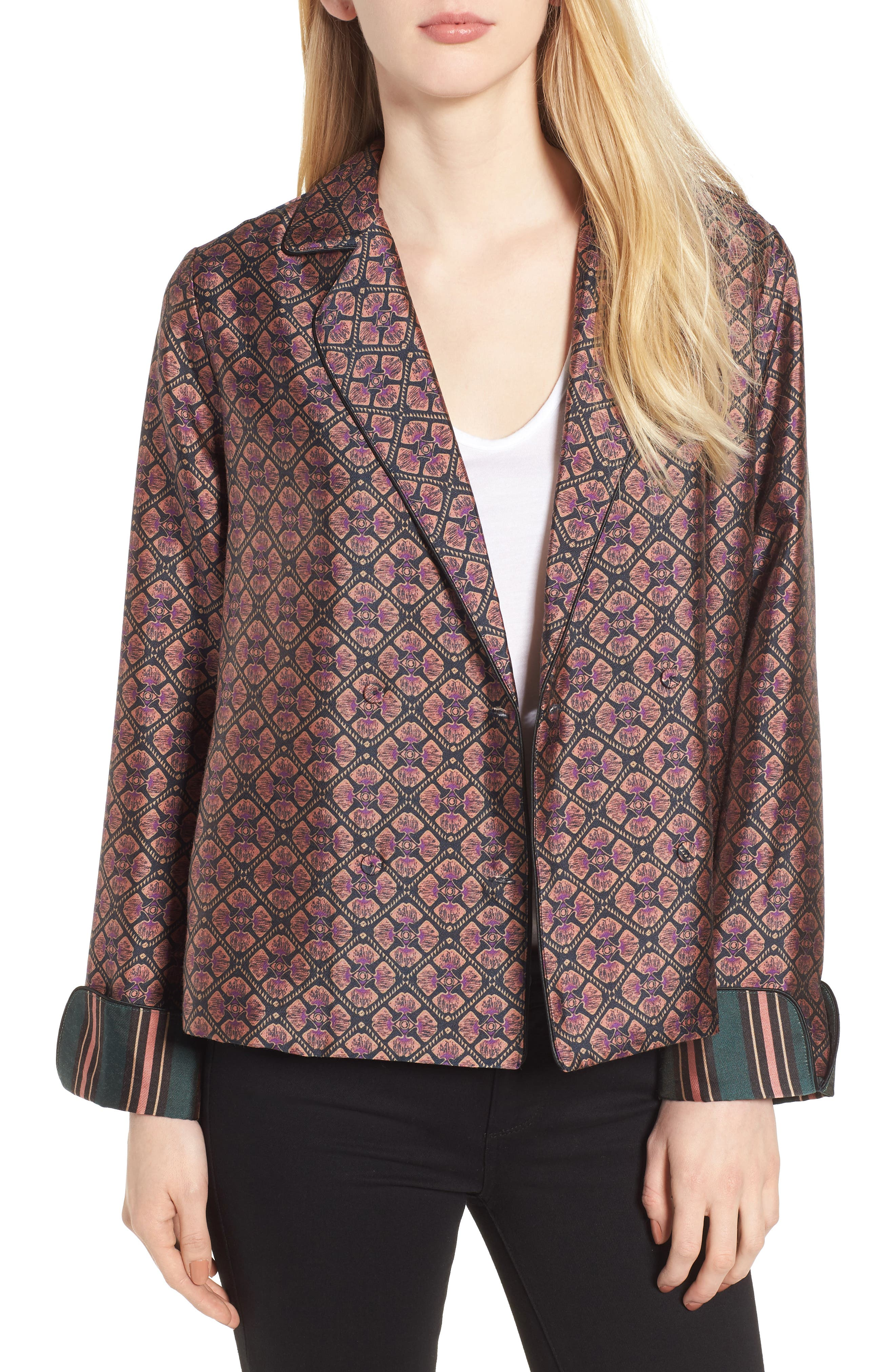 Double Breasted Print Pajama Blazer,                             Main thumbnail 1, color,                             651