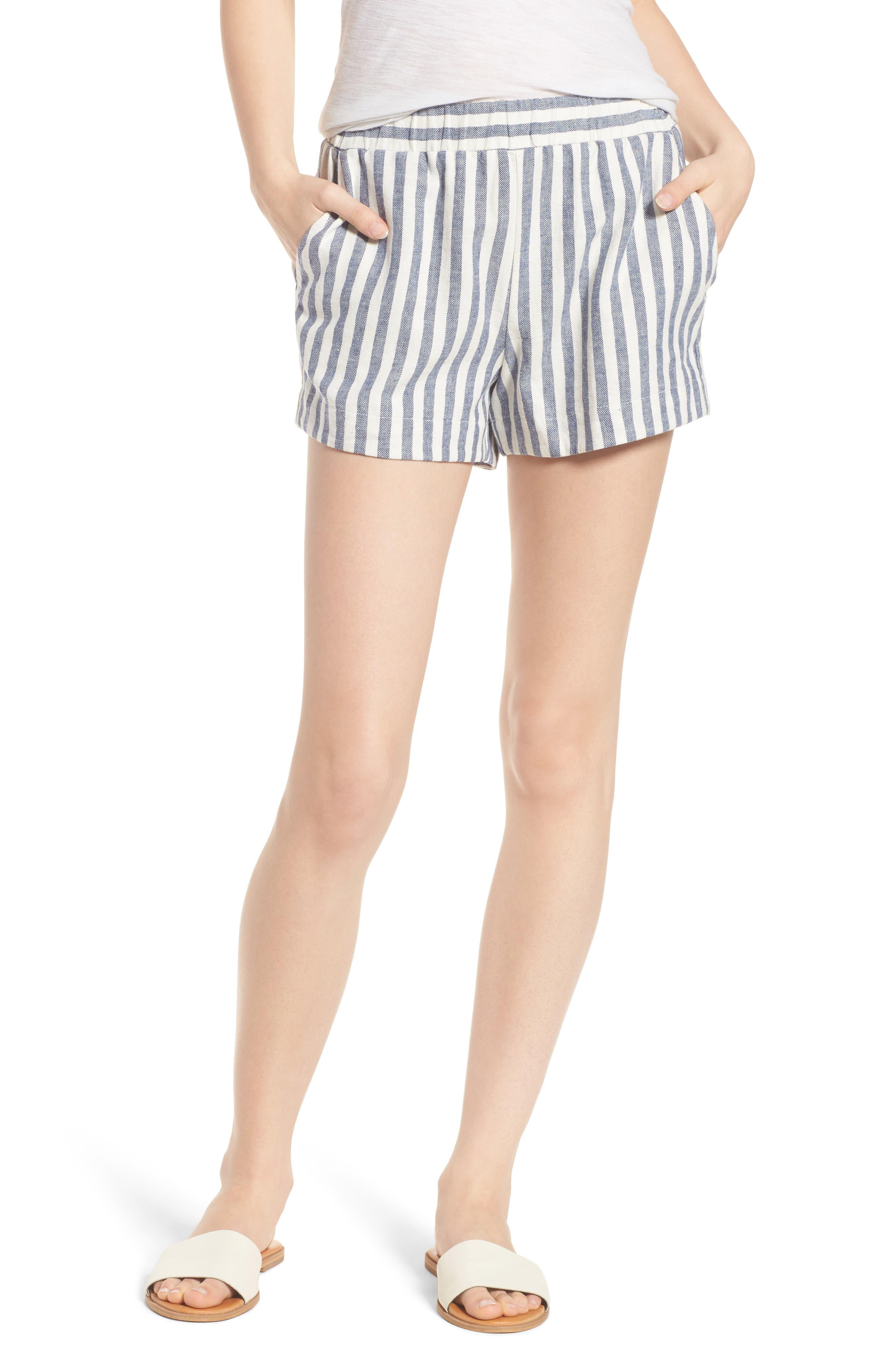 Stripe Linen Blend Shorts,                         Main,                         color, 903