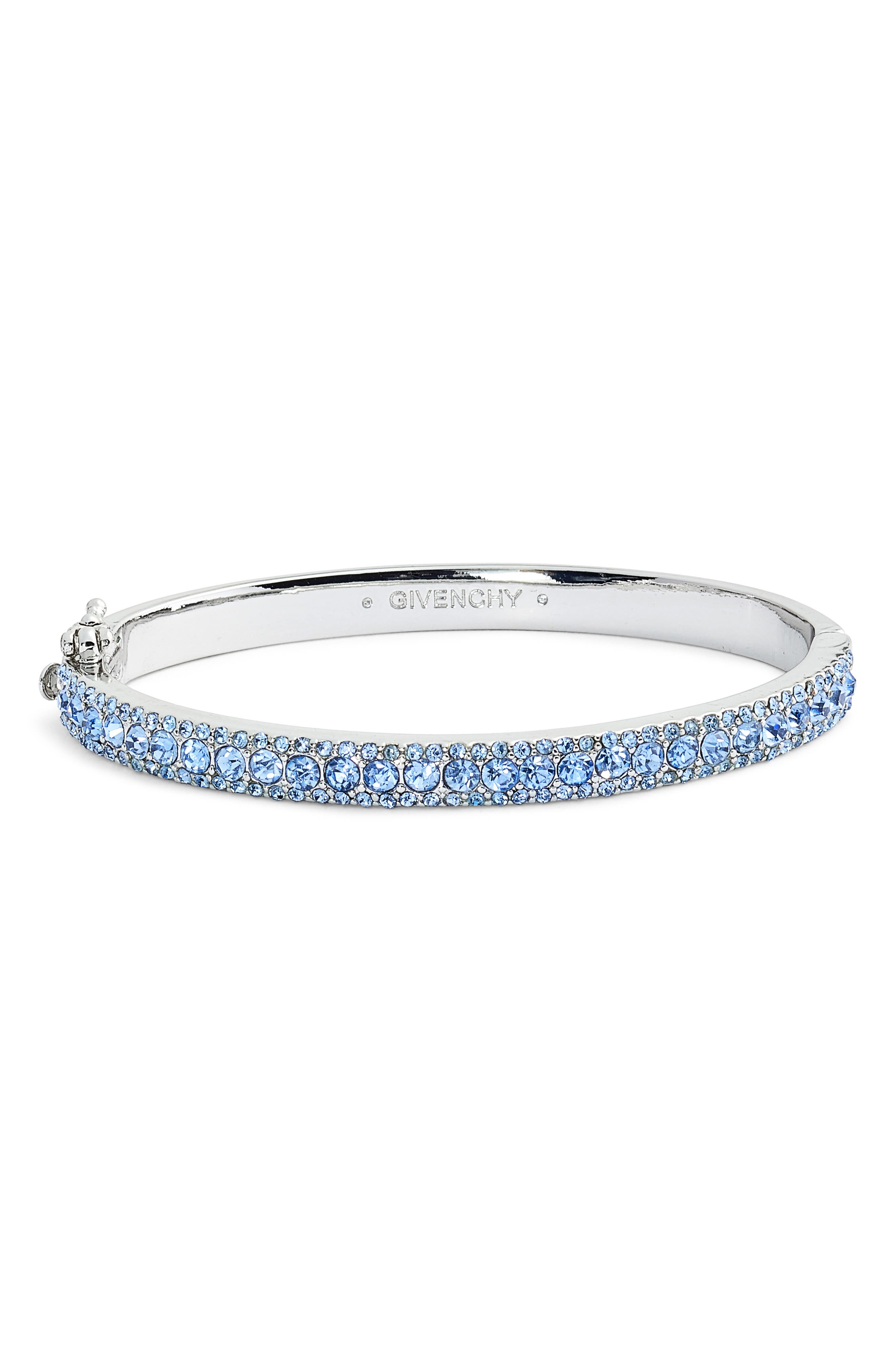 Pavé Crystal Bangle,                             Main thumbnail 1, color,                             SILVER