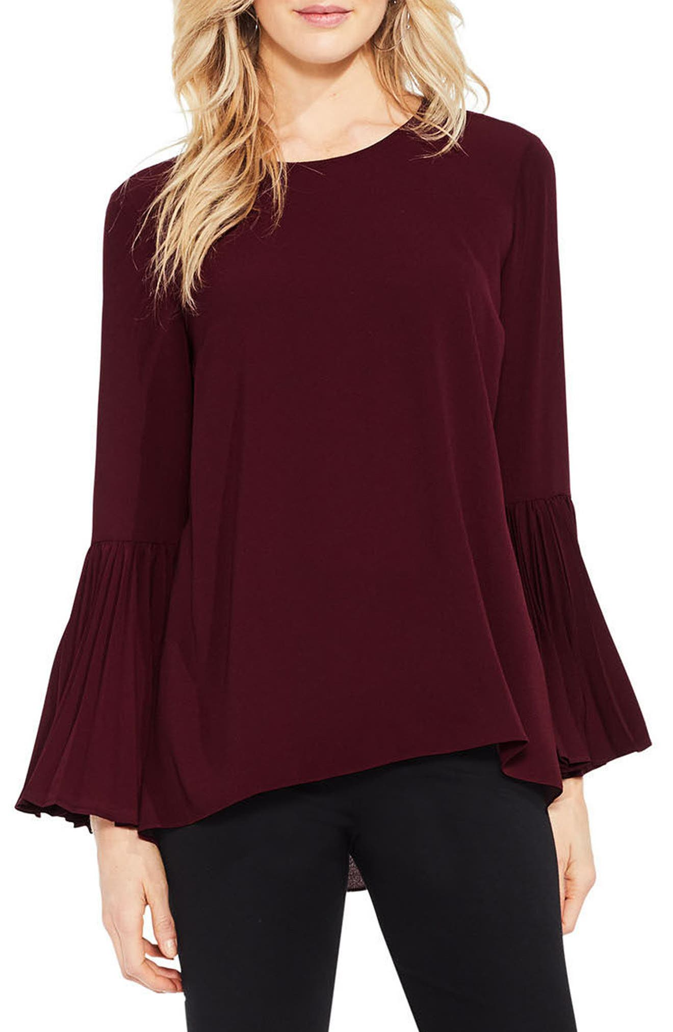Pleat Bell Sleeve Blouse,                             Main thumbnail 2, color,