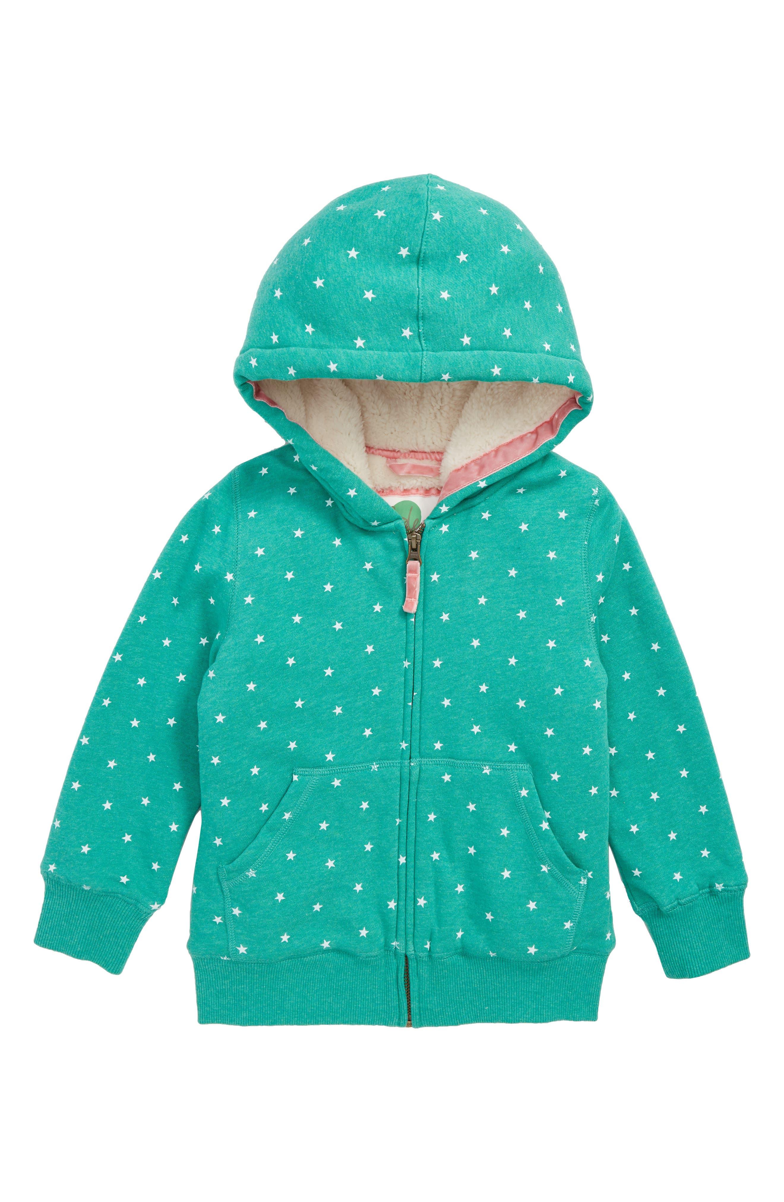 Fleece Lined Zip Hoodie,                         Main,                         color, JUNGLE GREEN MARLE/ ECRU STARS