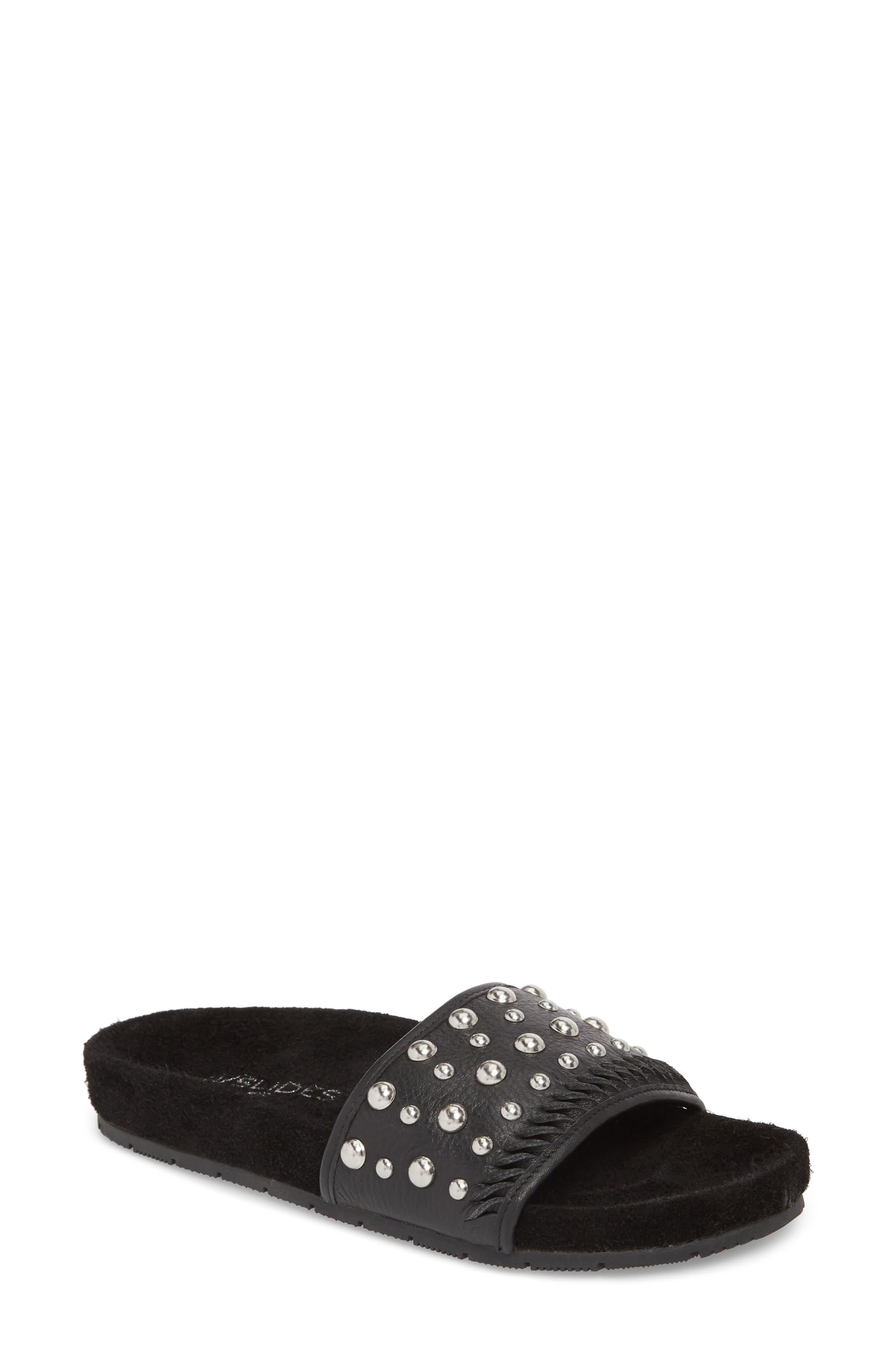 Nora Studded Slide Sandal,                         Main,                         color, BLACK SUEDE