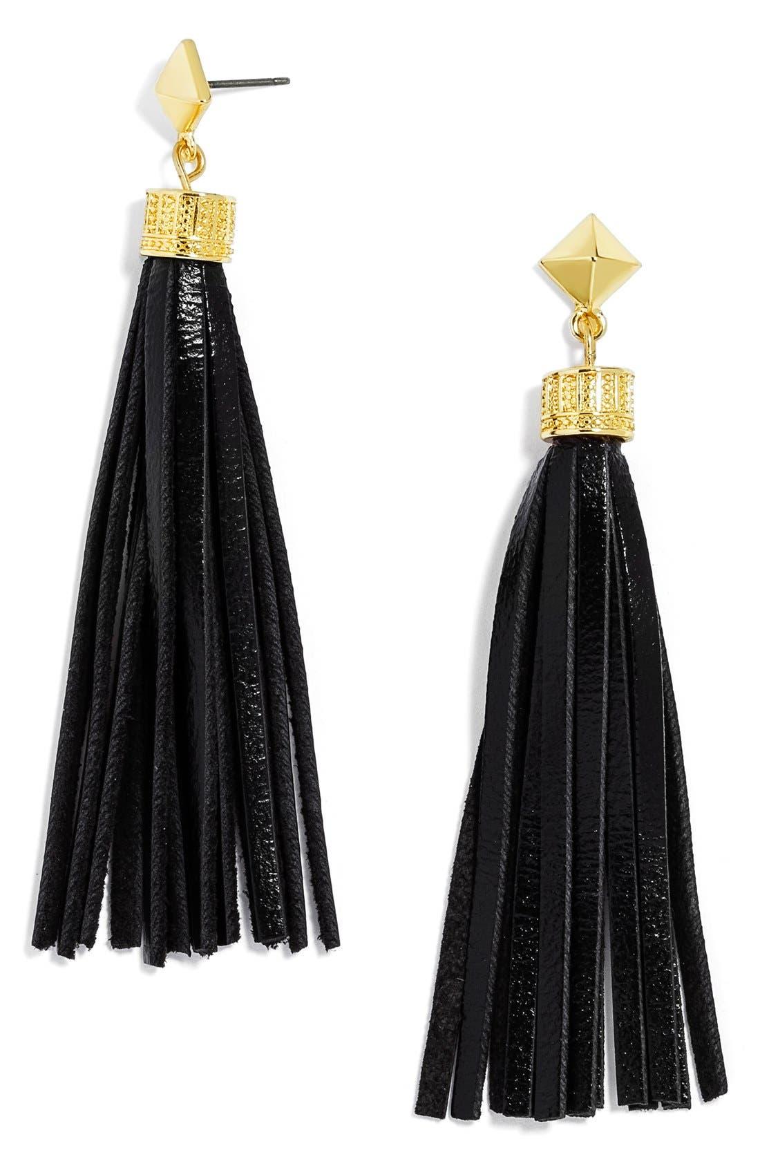 Leather Tassel Drop Earrings,                         Main,                         color, 001