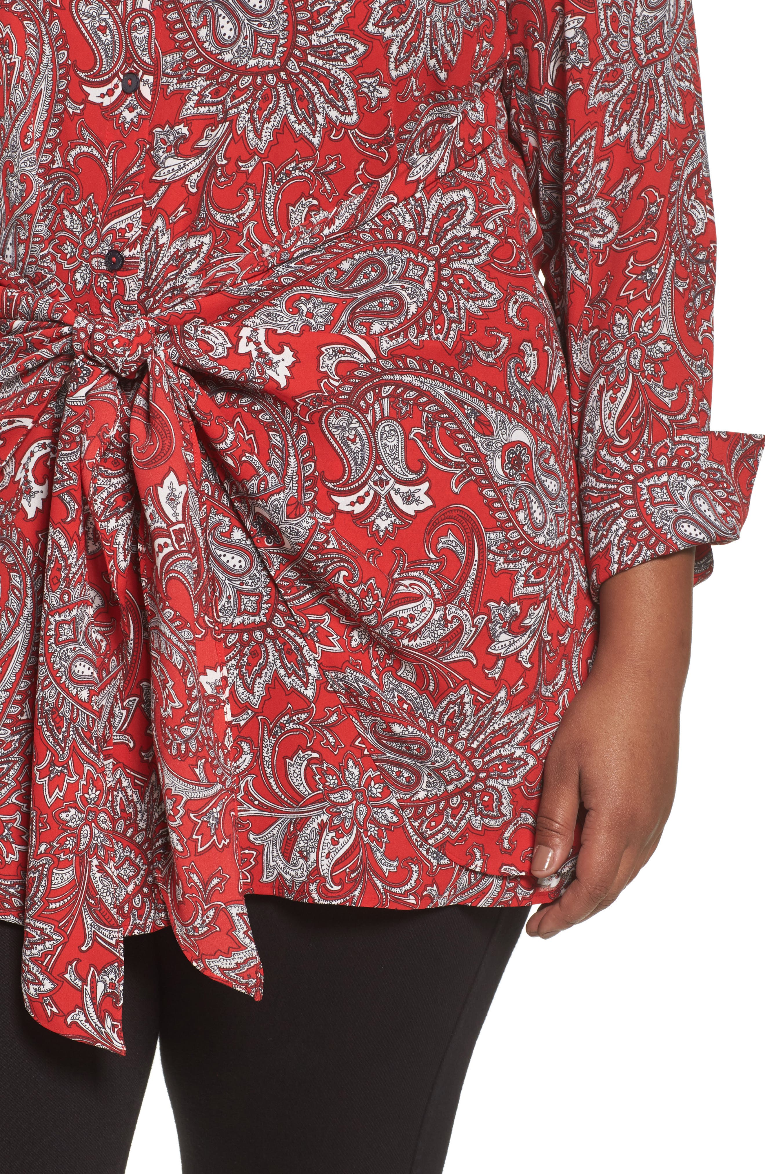 Serena Romantic Paisley Knotted Crepe Tunic Blouse,                             Alternate thumbnail 4, color,