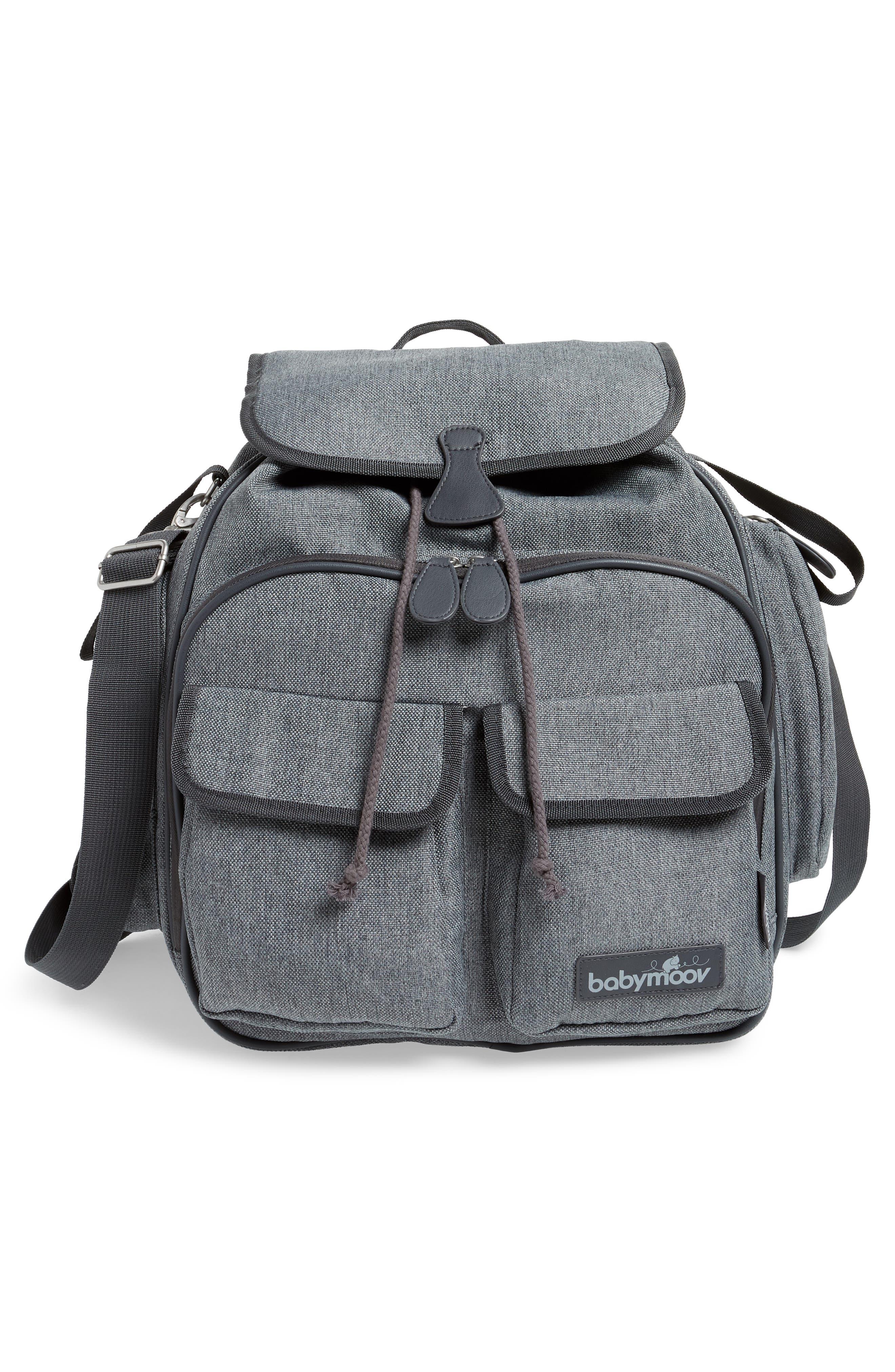 Glober Water Resistant Diaper Backpack,                             Alternate thumbnail 3, color,                             SMOKEY