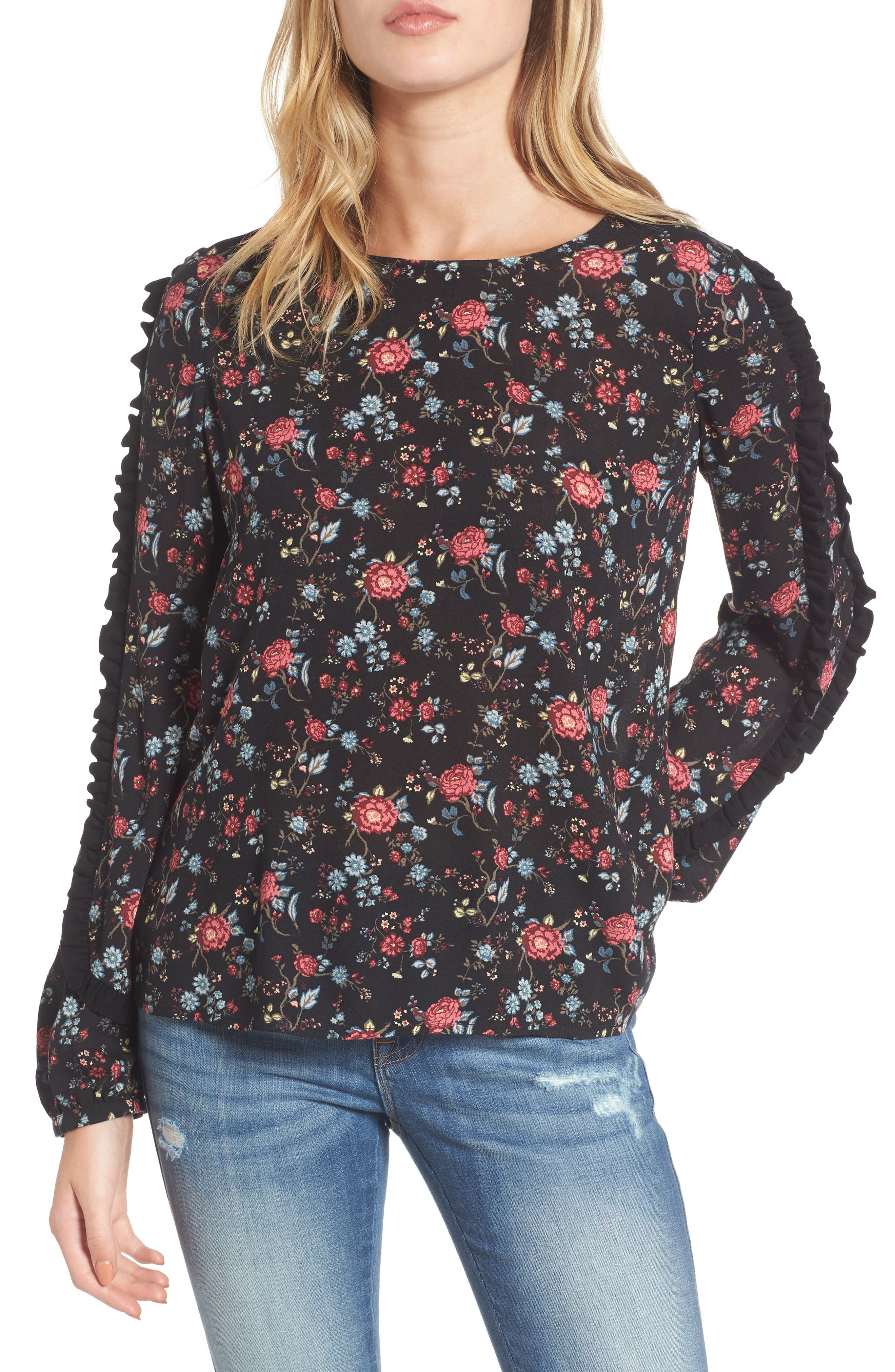 Ruffle Trim Floral Print Top,                             Main thumbnail 1, color,                             001