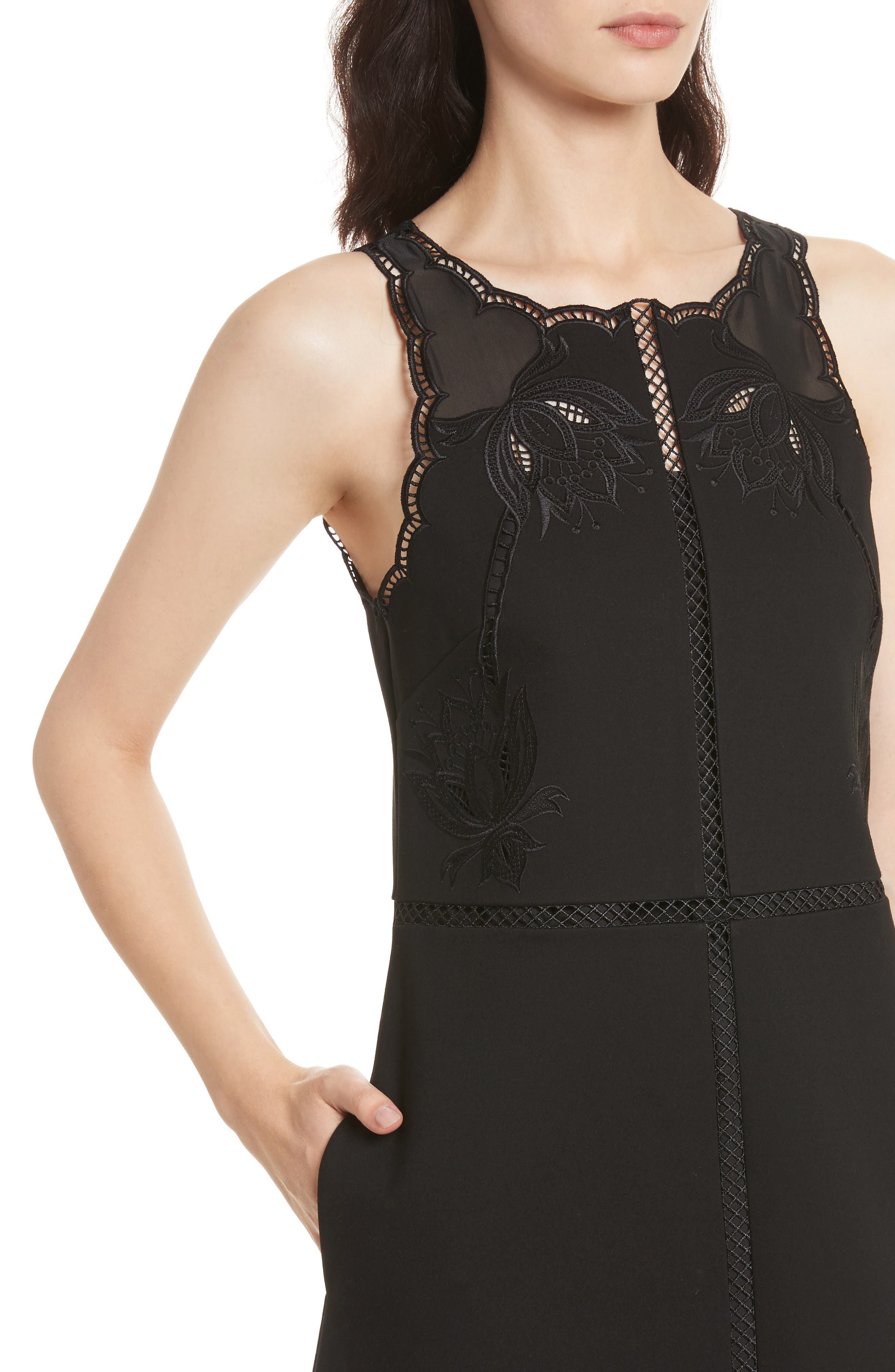 Codi Embroidered Scallop A-Line Dress,                             Alternate thumbnail 4, color,                             001