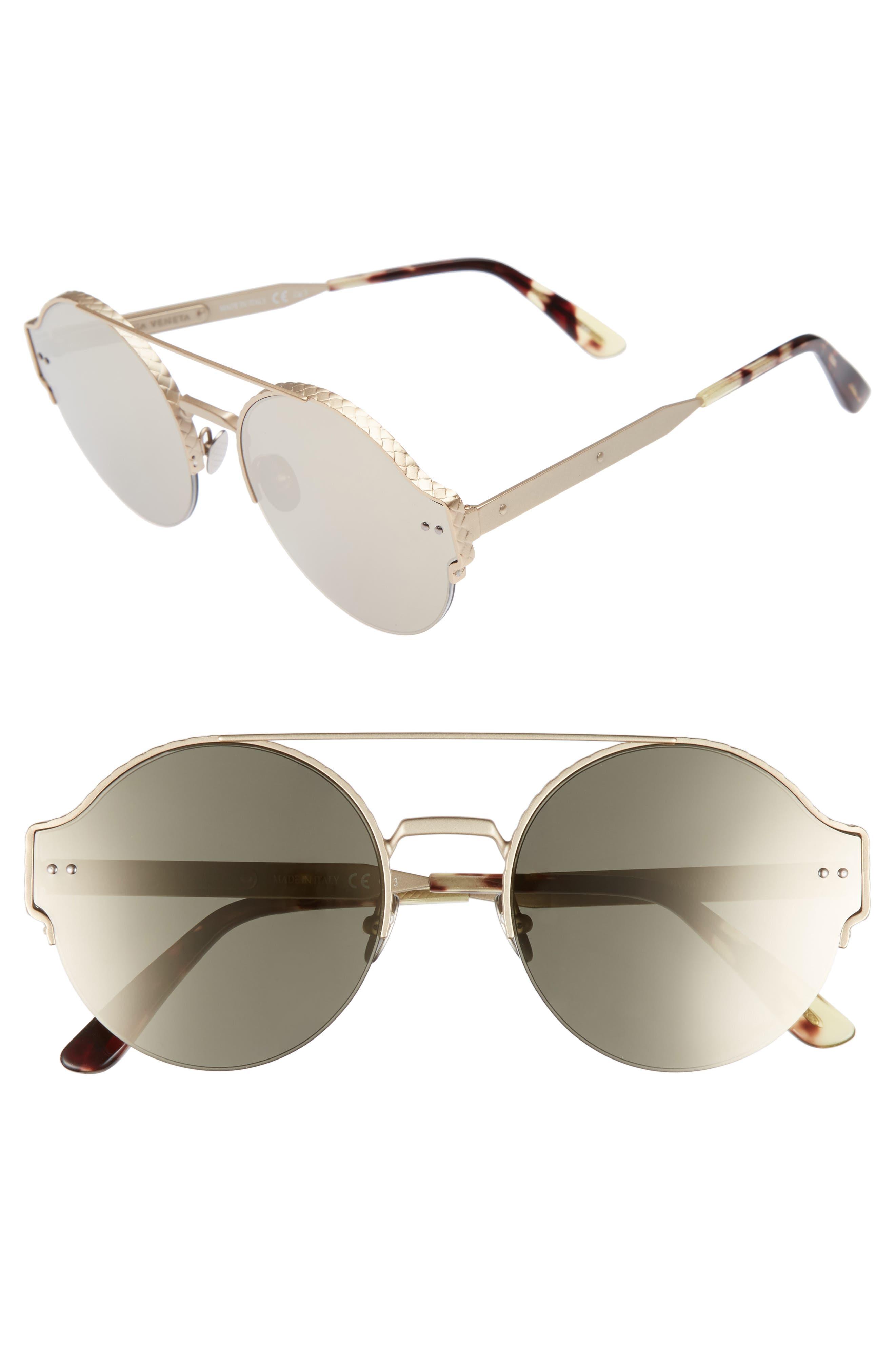 54mm Round Semi-Rimless Sunglasses,                             Main thumbnail 2, color,