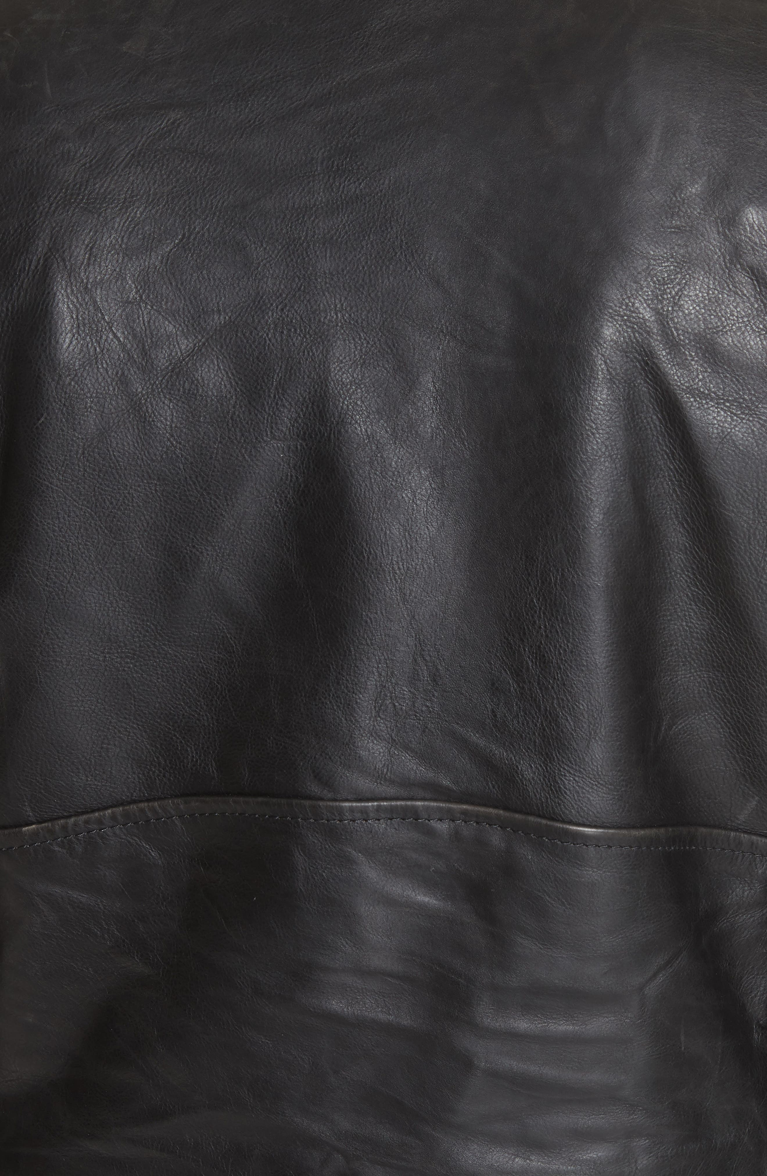 Logo Sleeve Leather Moto Jacket,                             Alternate thumbnail 7, color,                             BLACK
