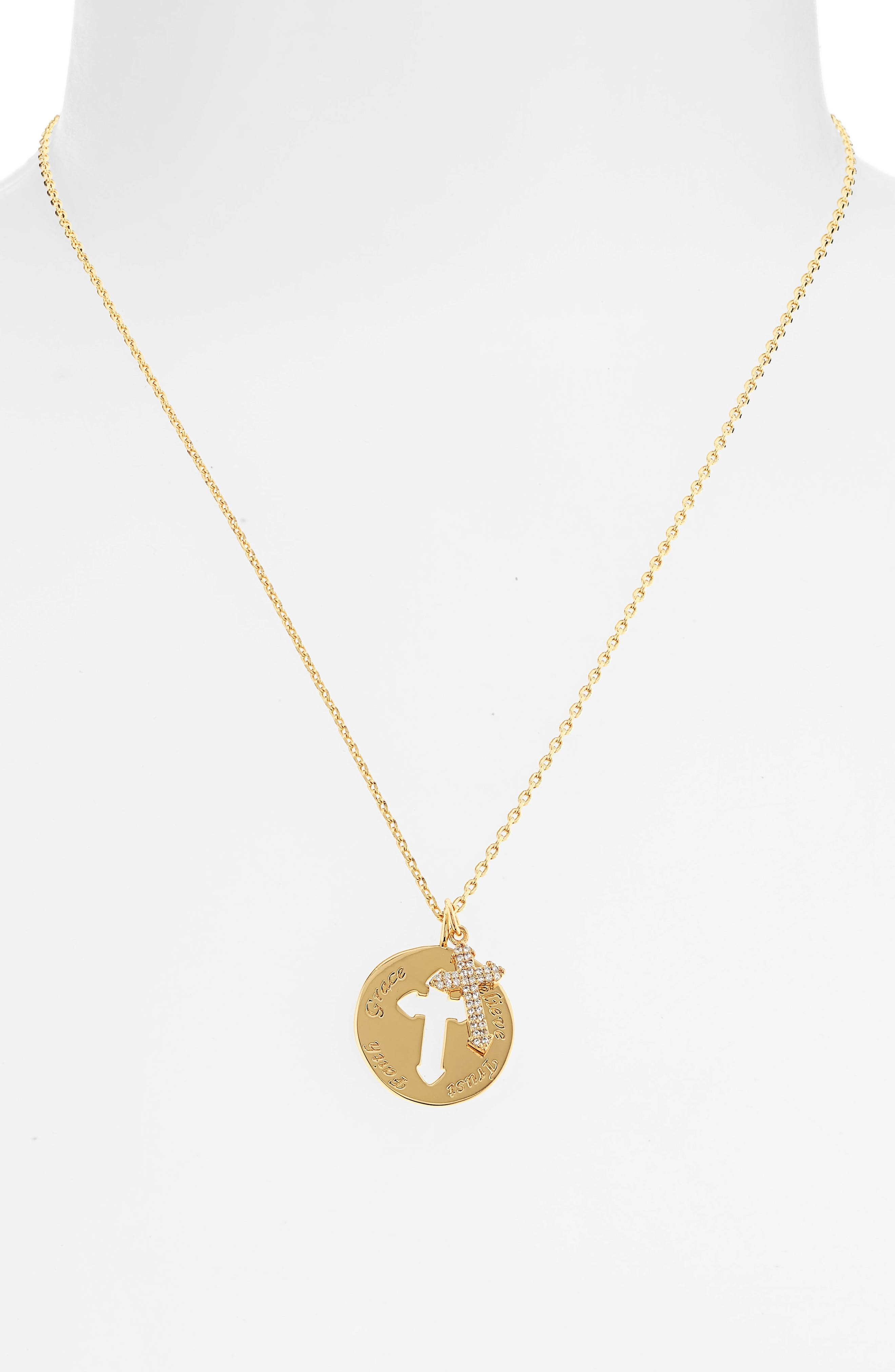 Cross Disc Pendant Necklace, Main, color, 710