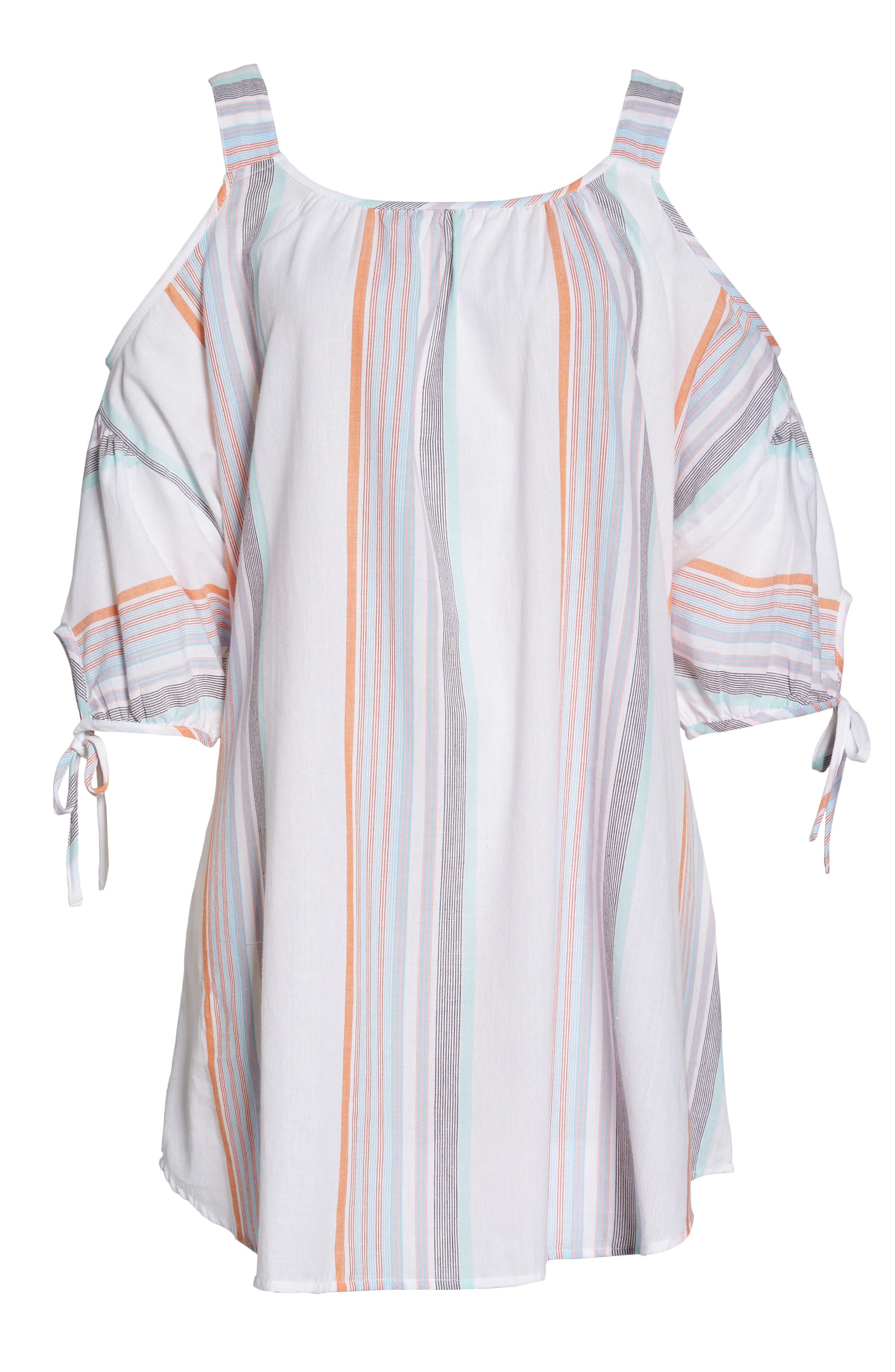 Sunset Stripe Cold Shoulder Cover-Up Dress,                             Alternate thumbnail 6, color,                             100