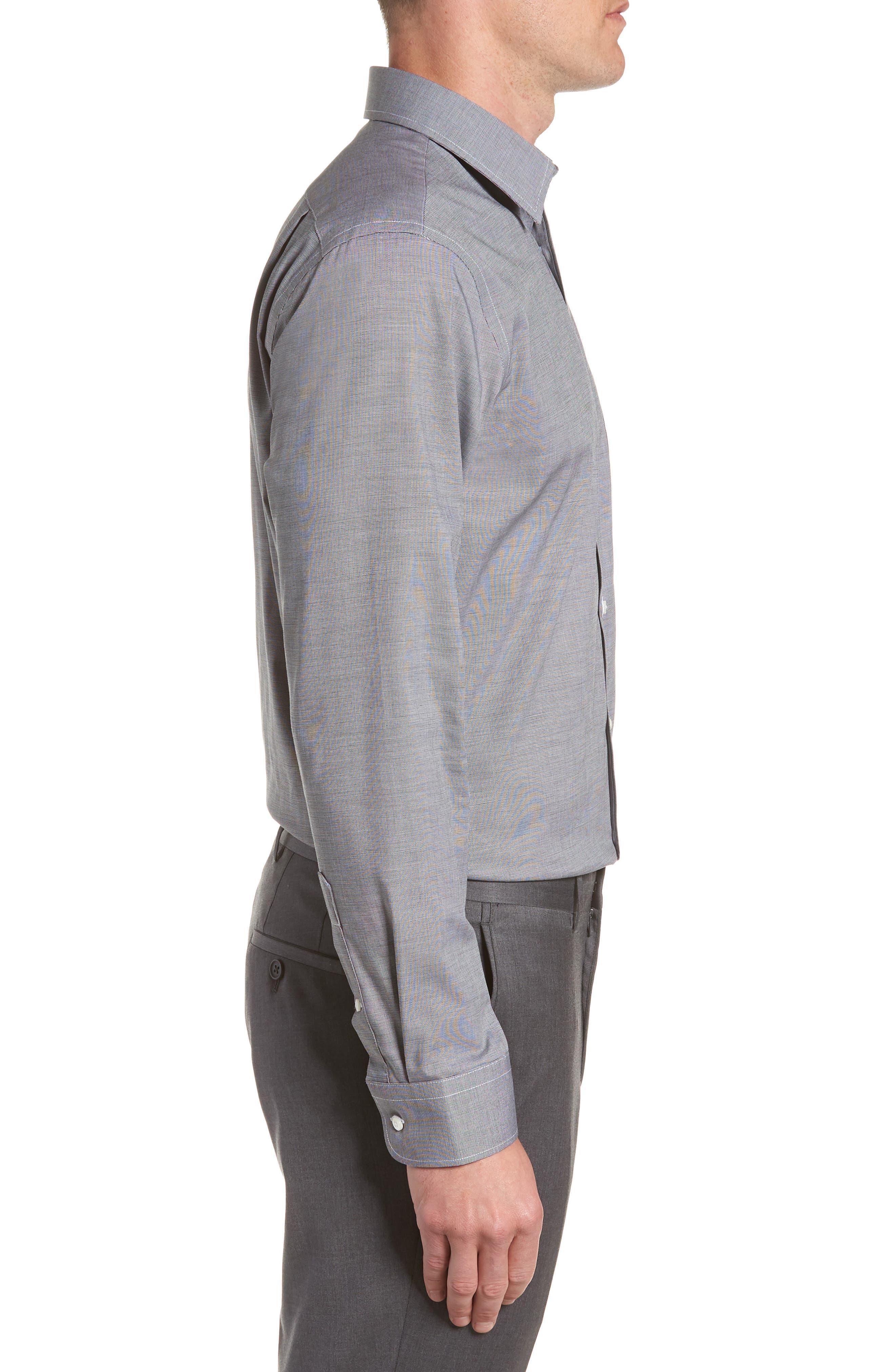 Trim Fit Non-Iron Dress Shirt,                             Alternate thumbnail 4, color,                             BLACK ROCK