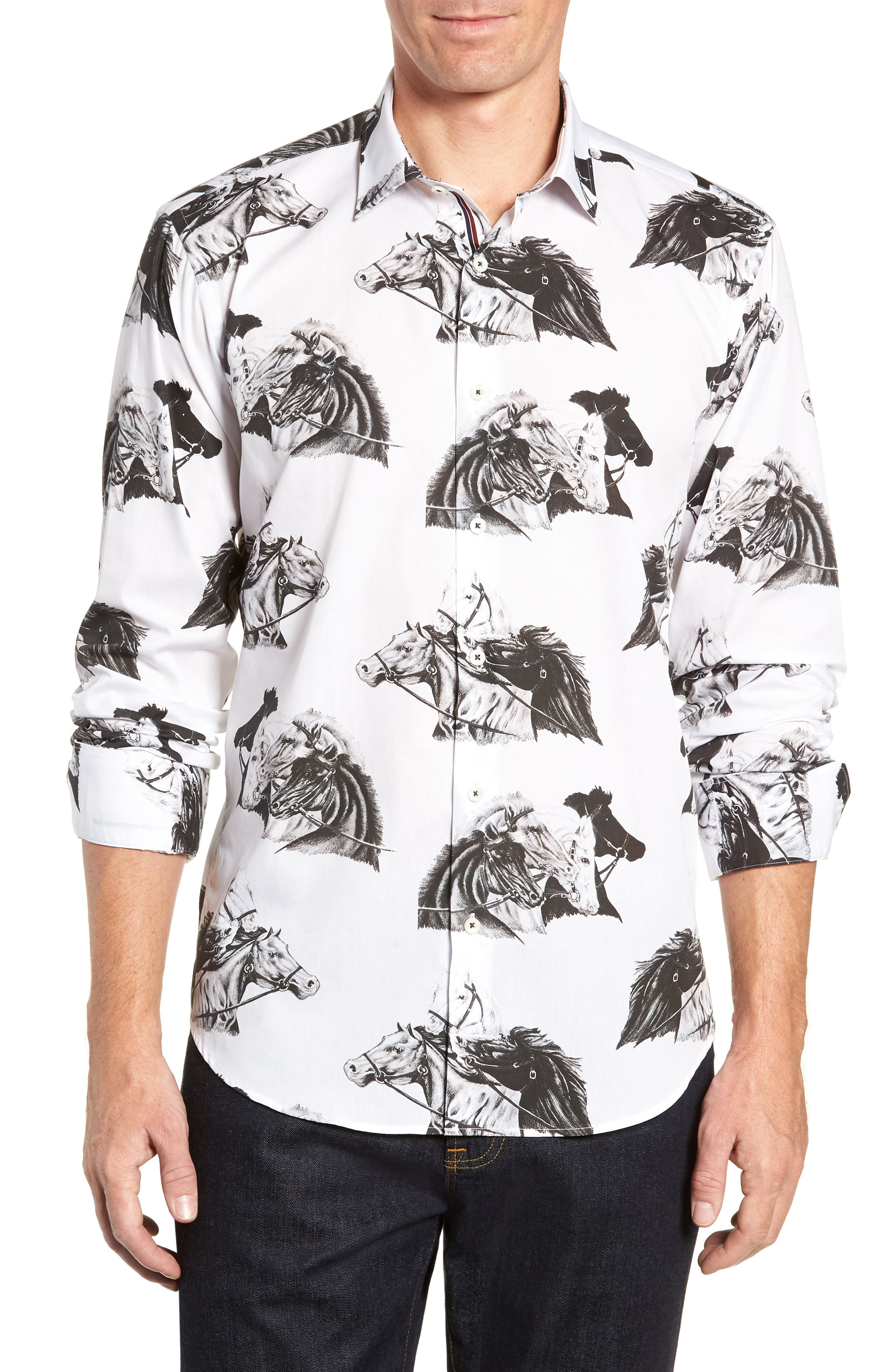 Shaped Fit Print Sport Shirt, Main, color, WHITE