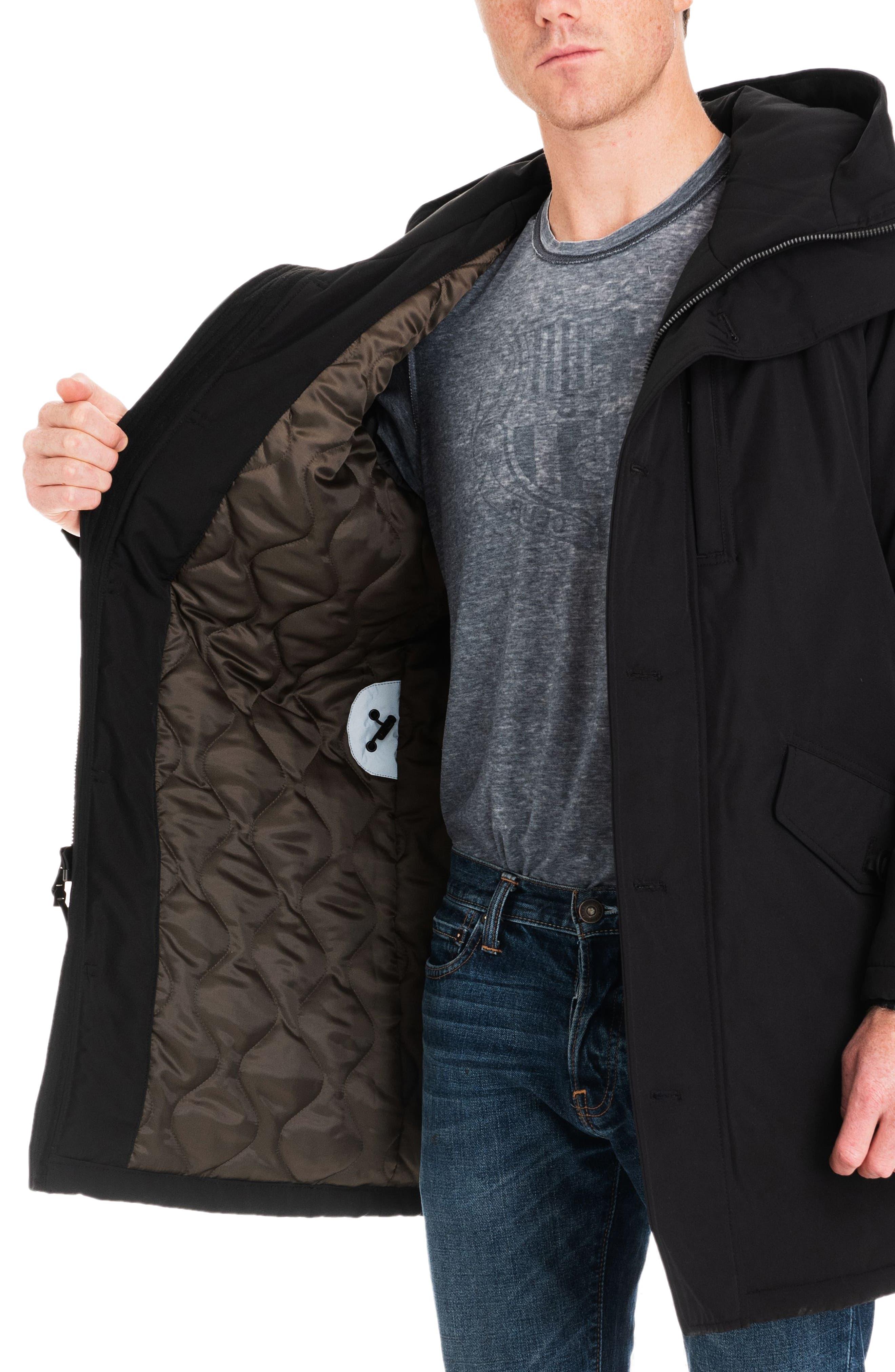 Gardiner Water Resistant Snorkel Coat,                             Alternate thumbnail 4, color,                             BLACK/ MIDNIGHT
