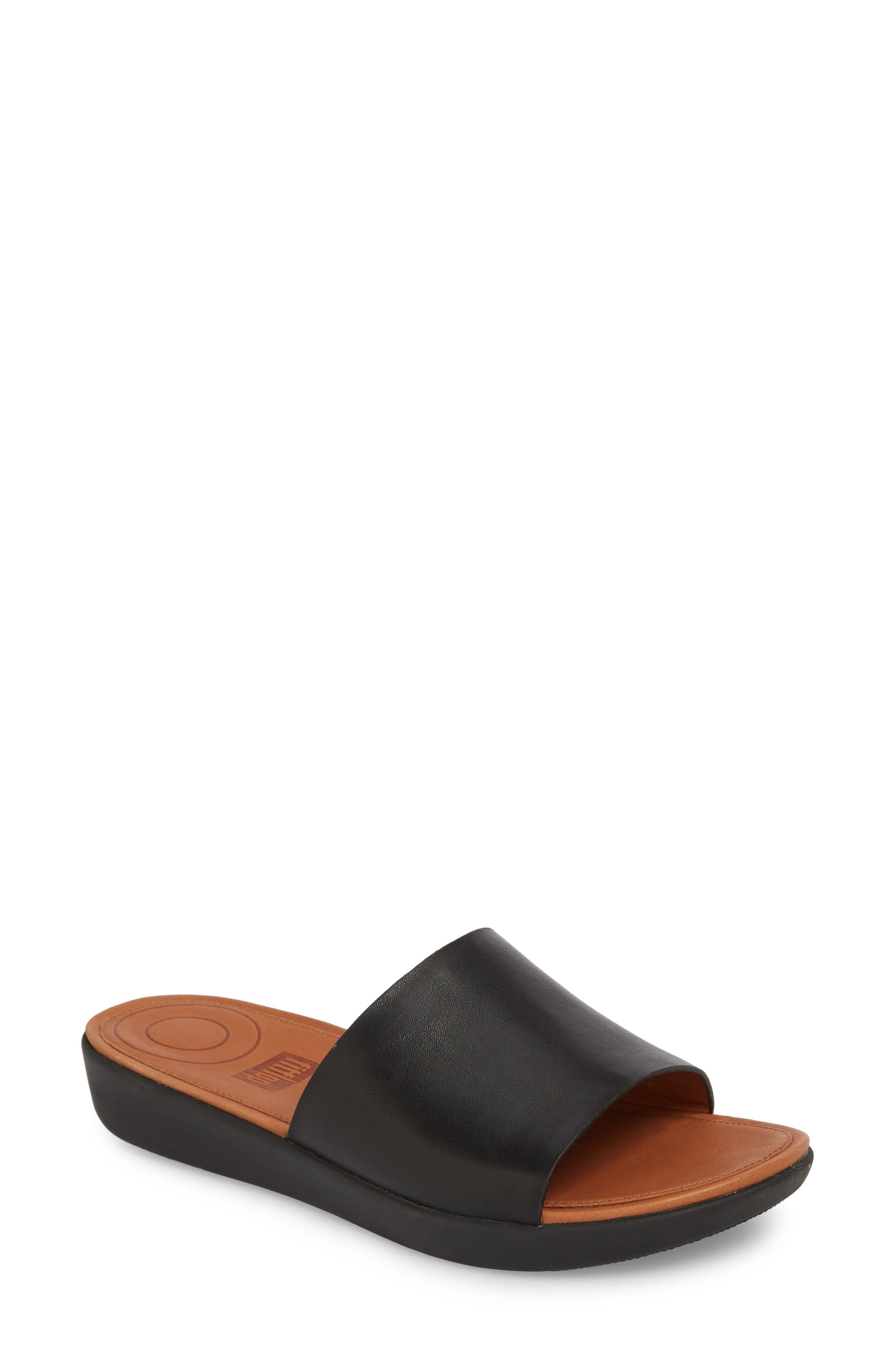 Sola Sandal,                             Main thumbnail 1, color,                             BLACK LEATHER