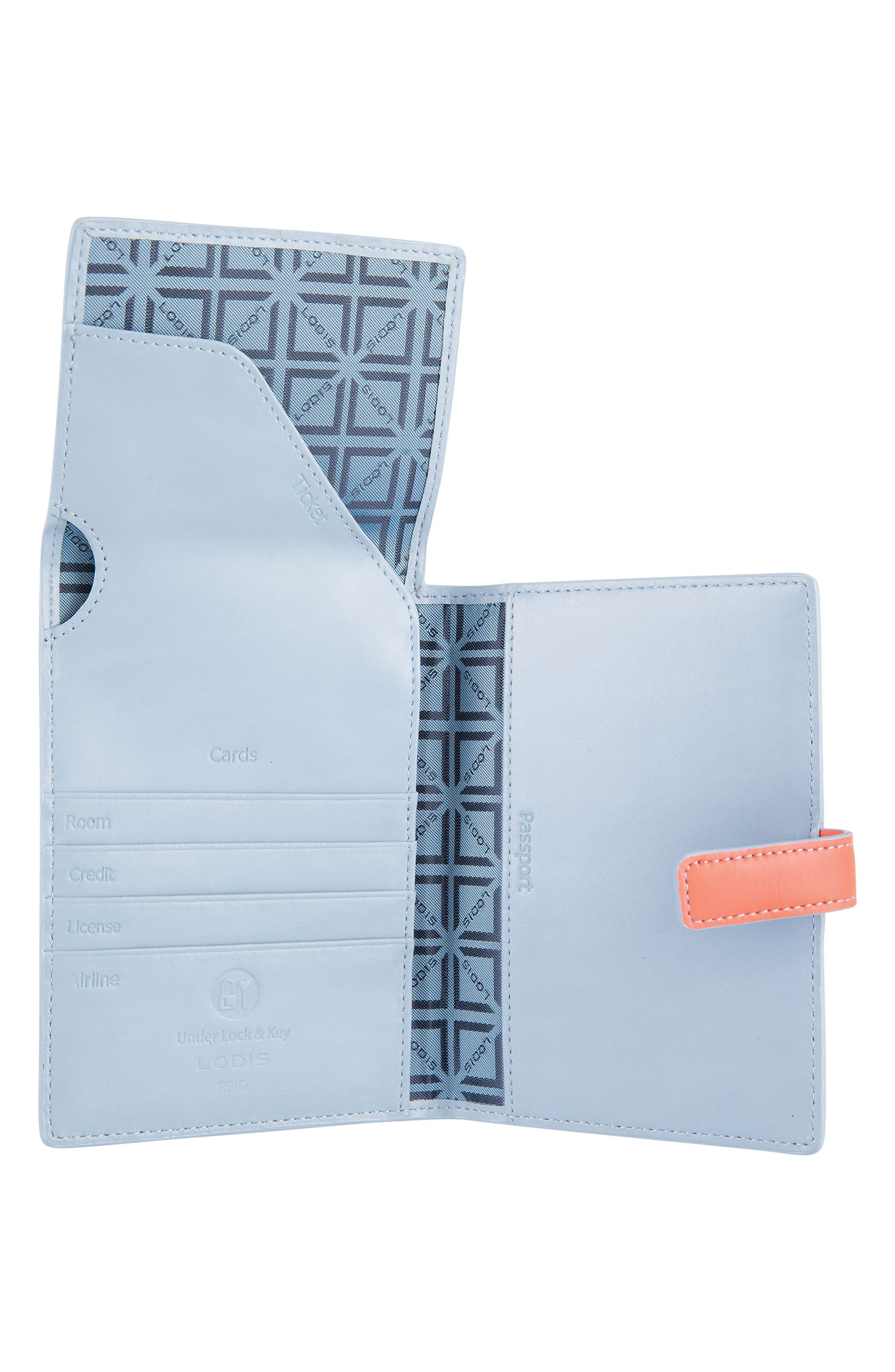 Audrey RFID Leather Passport Wallet,                             Alternate thumbnail 9, color,