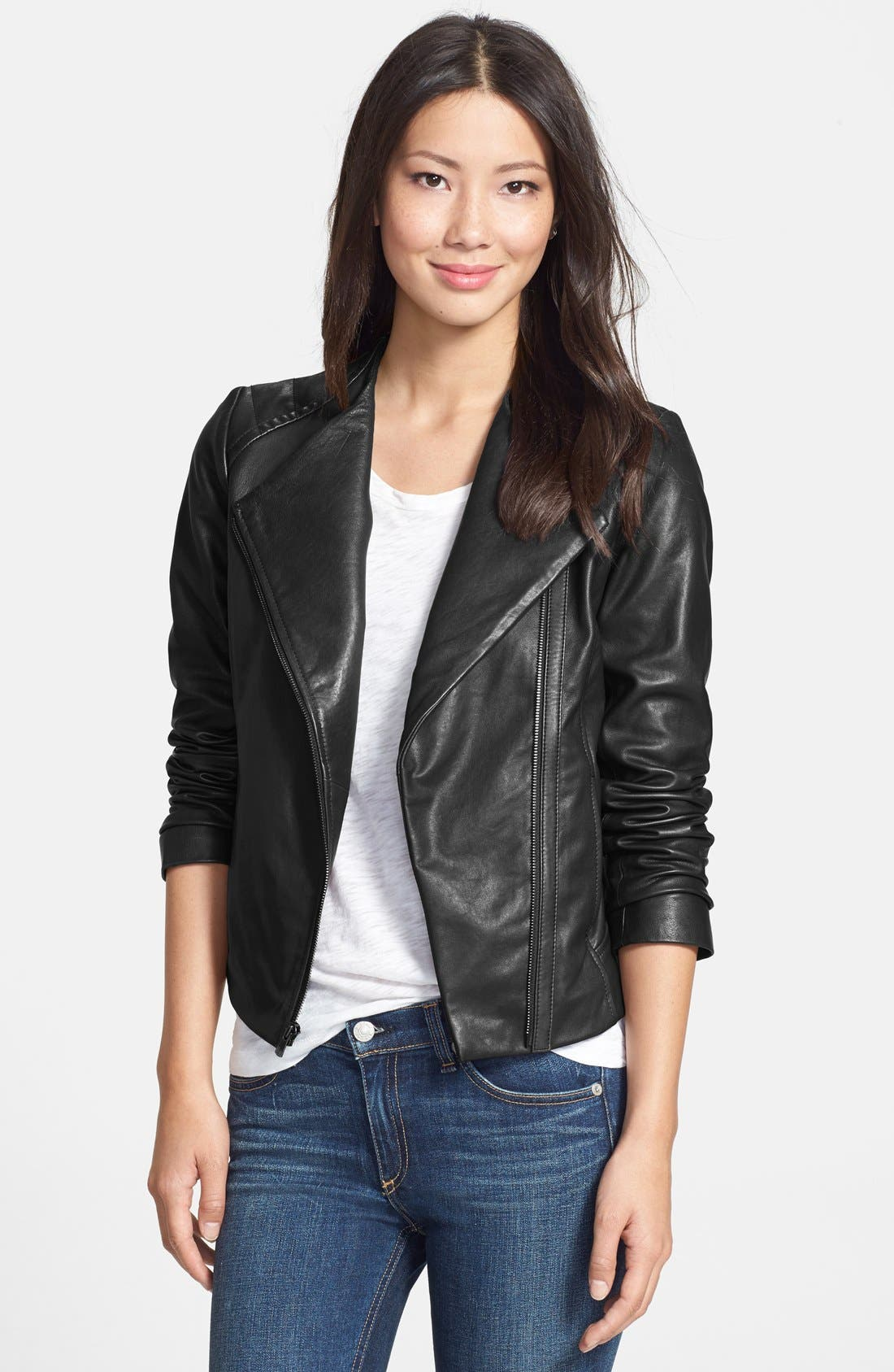 7 FOR ALL MANKIND<SUP>®</SUP> Collarless Leather Moto Jacket, Main, color, 001