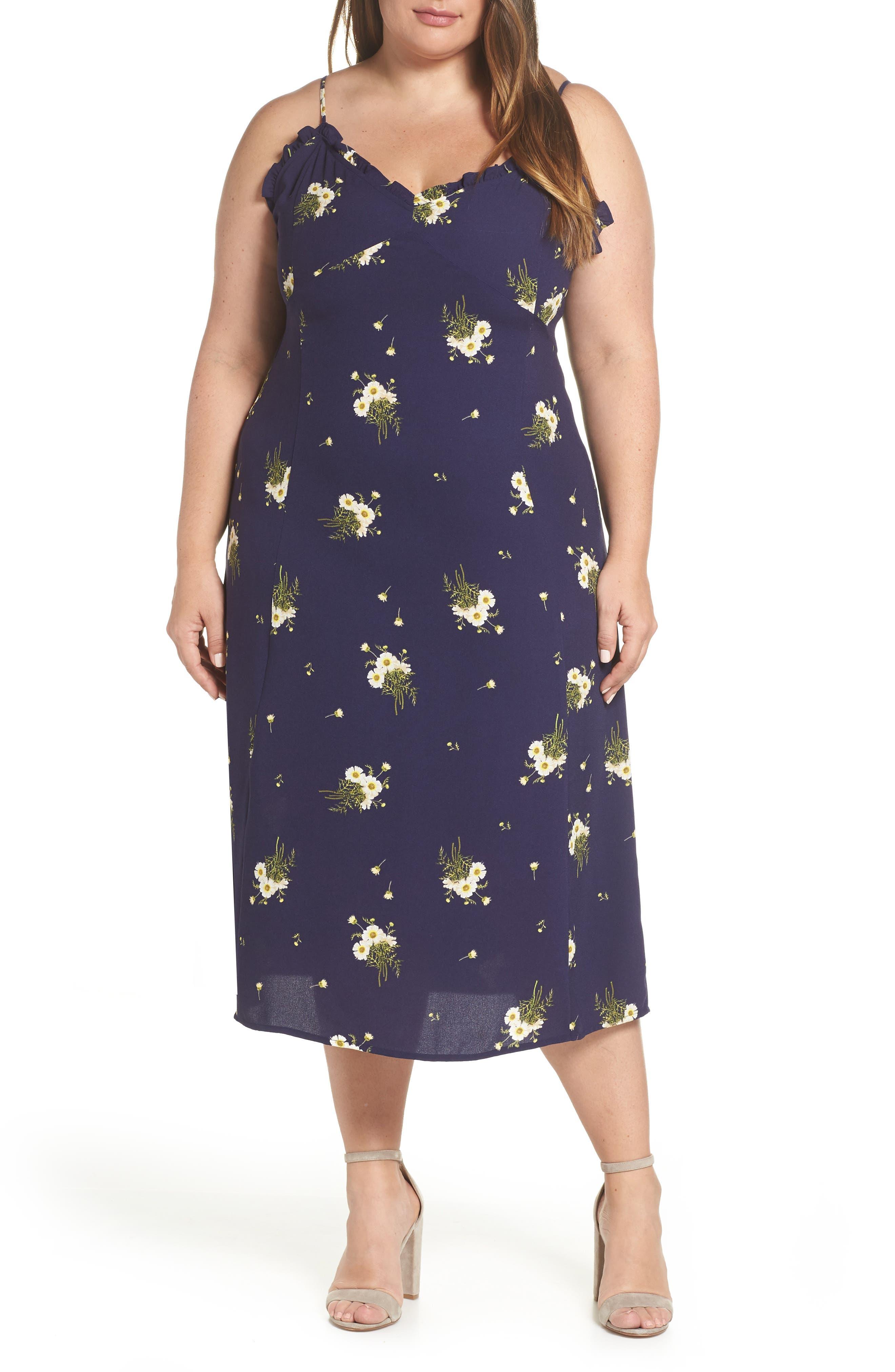 BP.,                             Ruffle Trim Floral Print Midi Dress,                             Alternate thumbnail 2, color,                             NAVY EVENING DAISY
