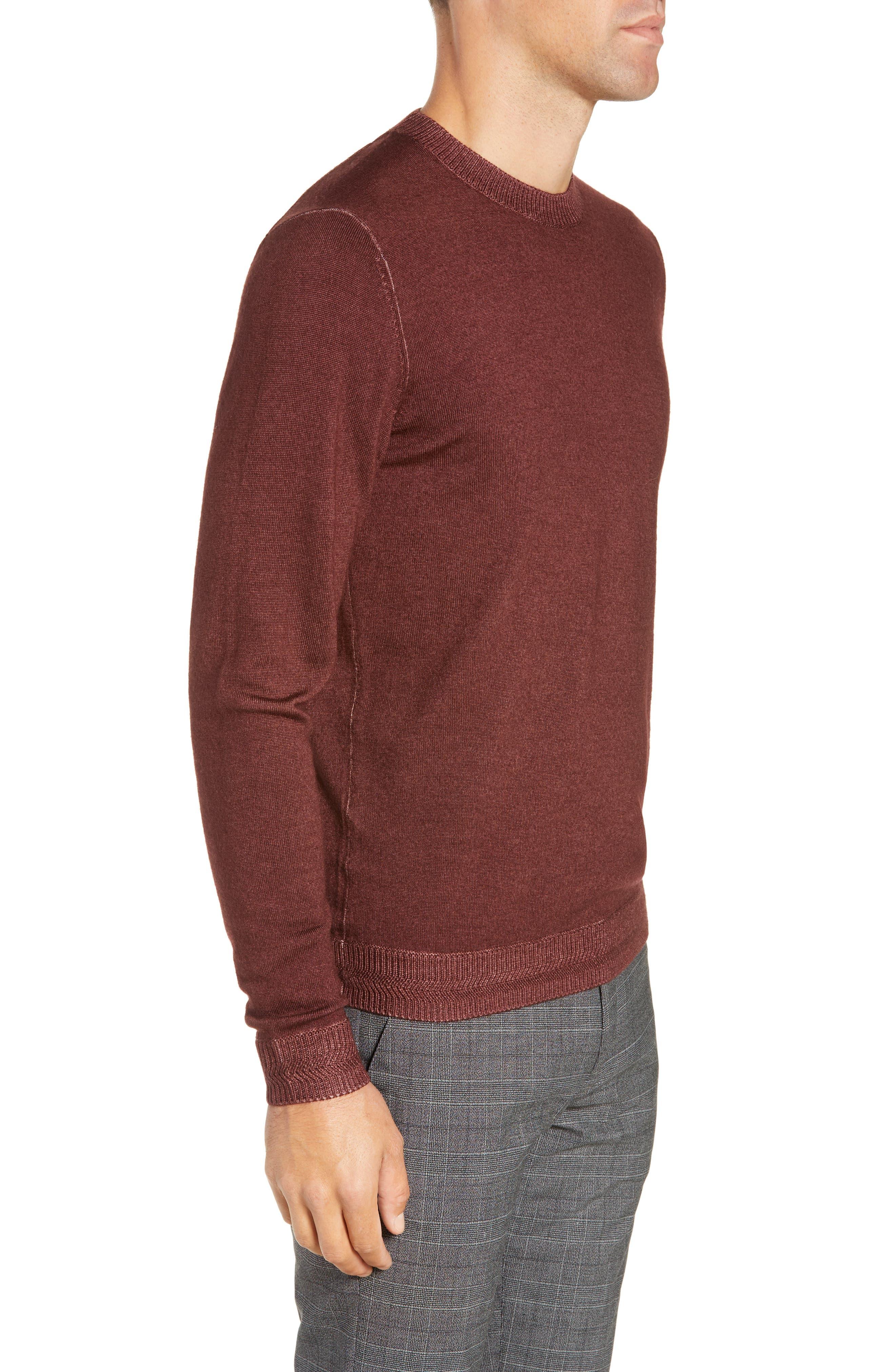 Trim Fit Newab Garment Dyed Wool Sweater,                             Alternate thumbnail 3, color,                             MAROON