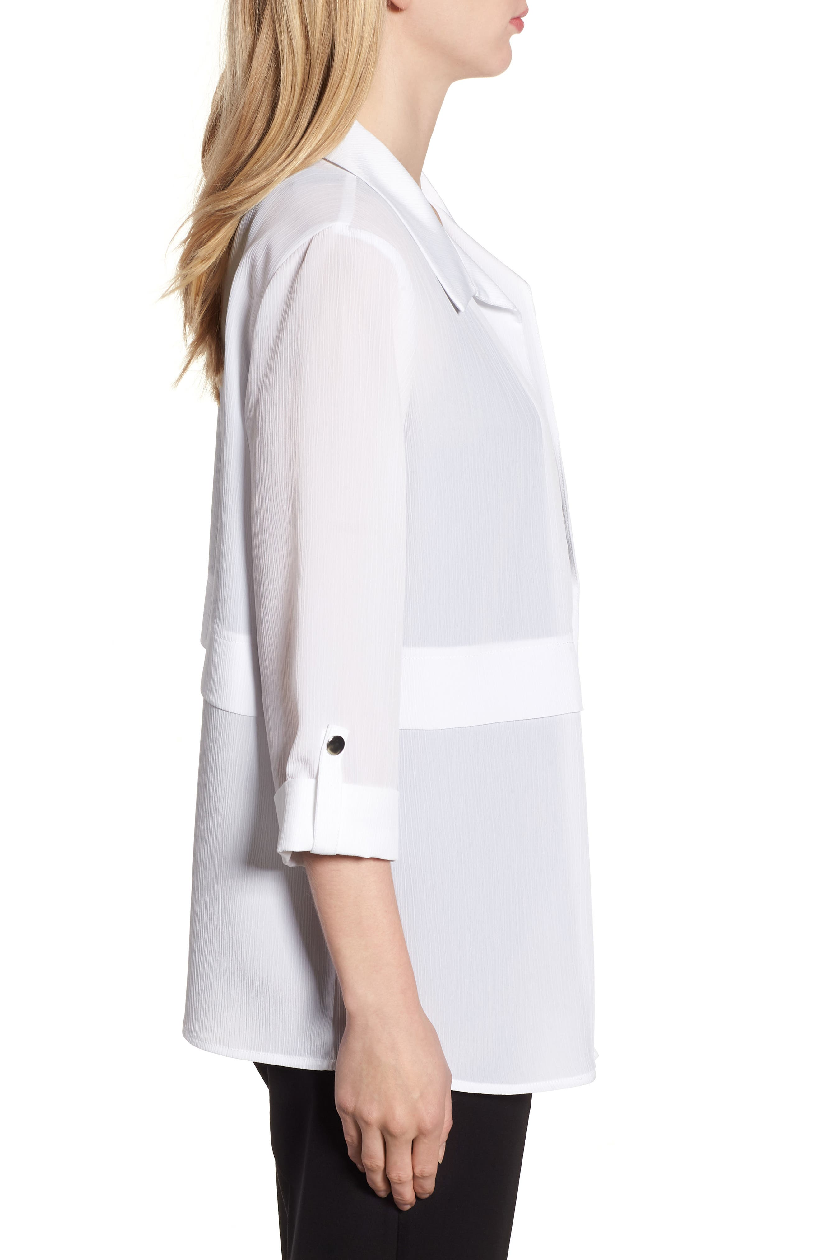 Gauzy Roll-Tab Sleeve Jacket,                             Alternate thumbnail 3, color,                             WHITE