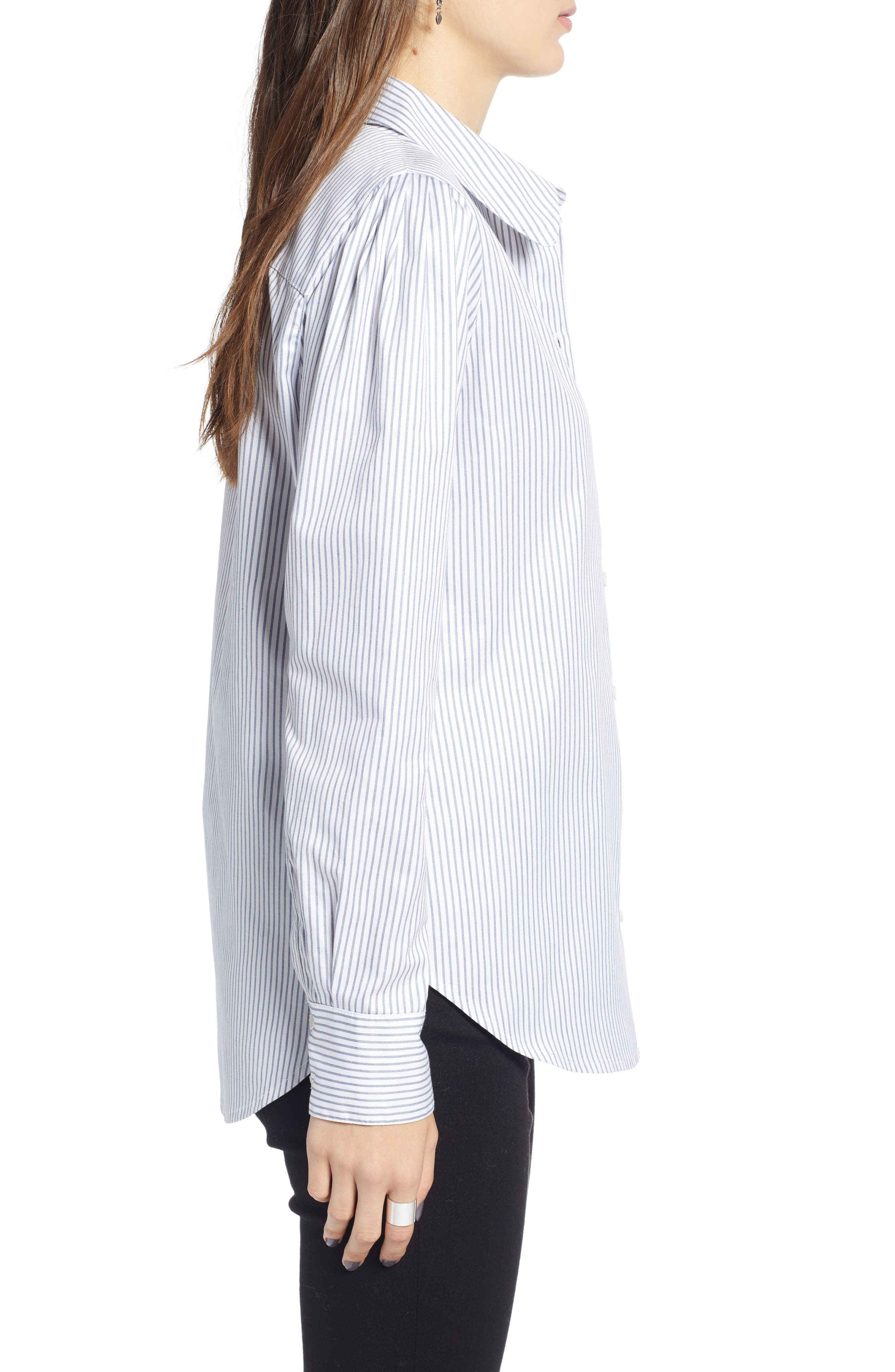 Pleated Sleeve Stripe Shirt,                             Alternate thumbnail 3, color,                             WHITE STOCKHOLM STRIPE