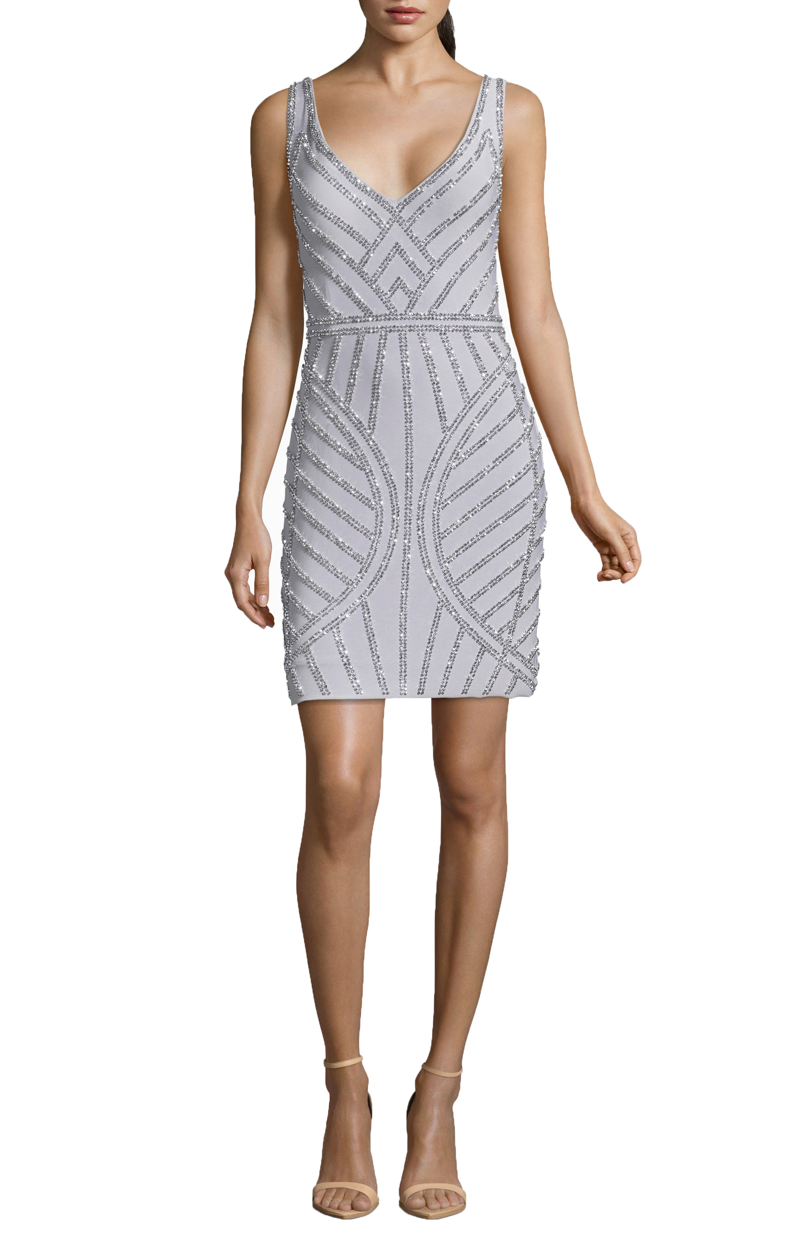 Art Deco Beaded Cocktail Dress,                             Main thumbnail 1, color,                             SILVER