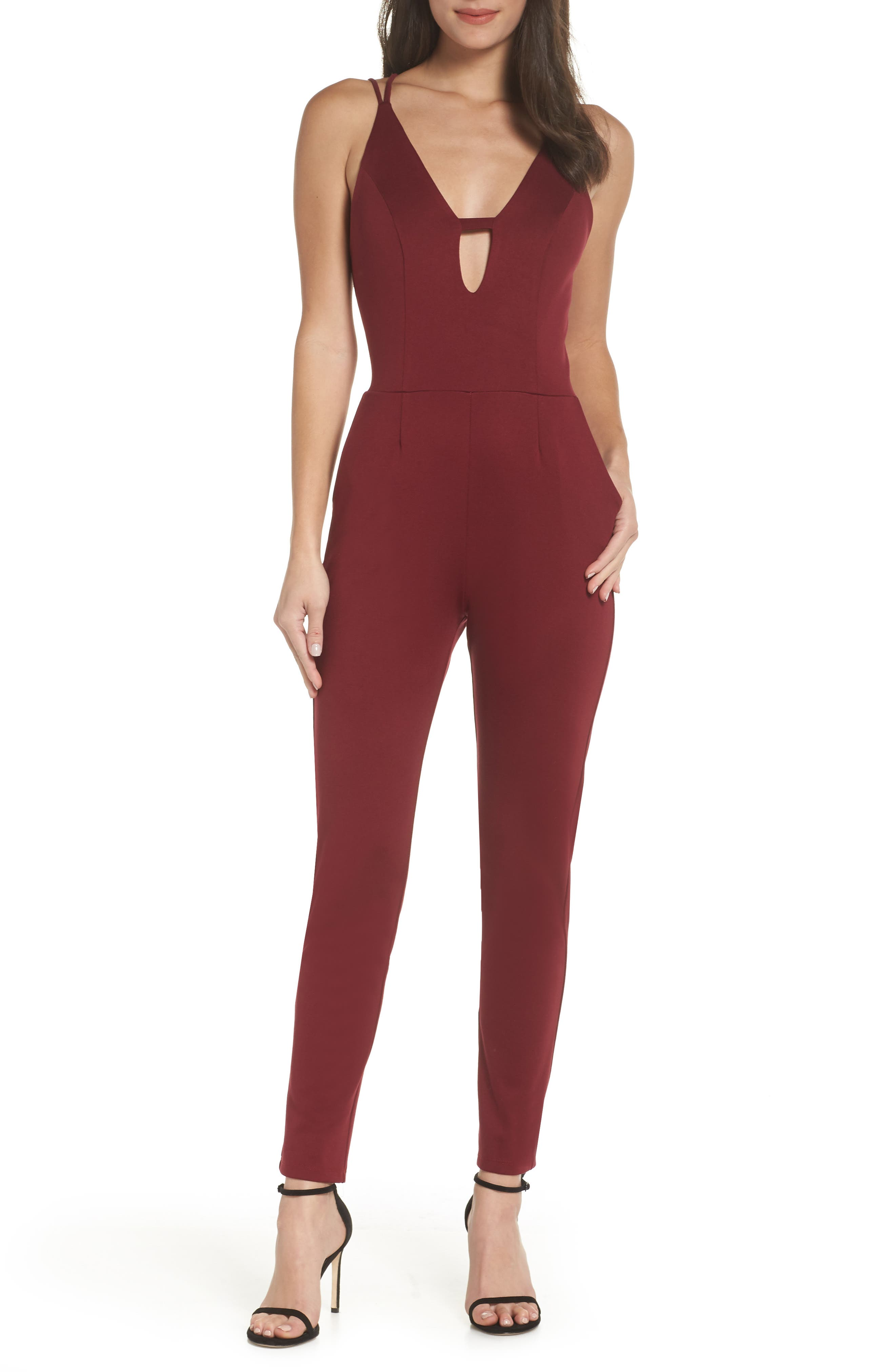 Deep-V Jumpsuit, Main, color, WINE