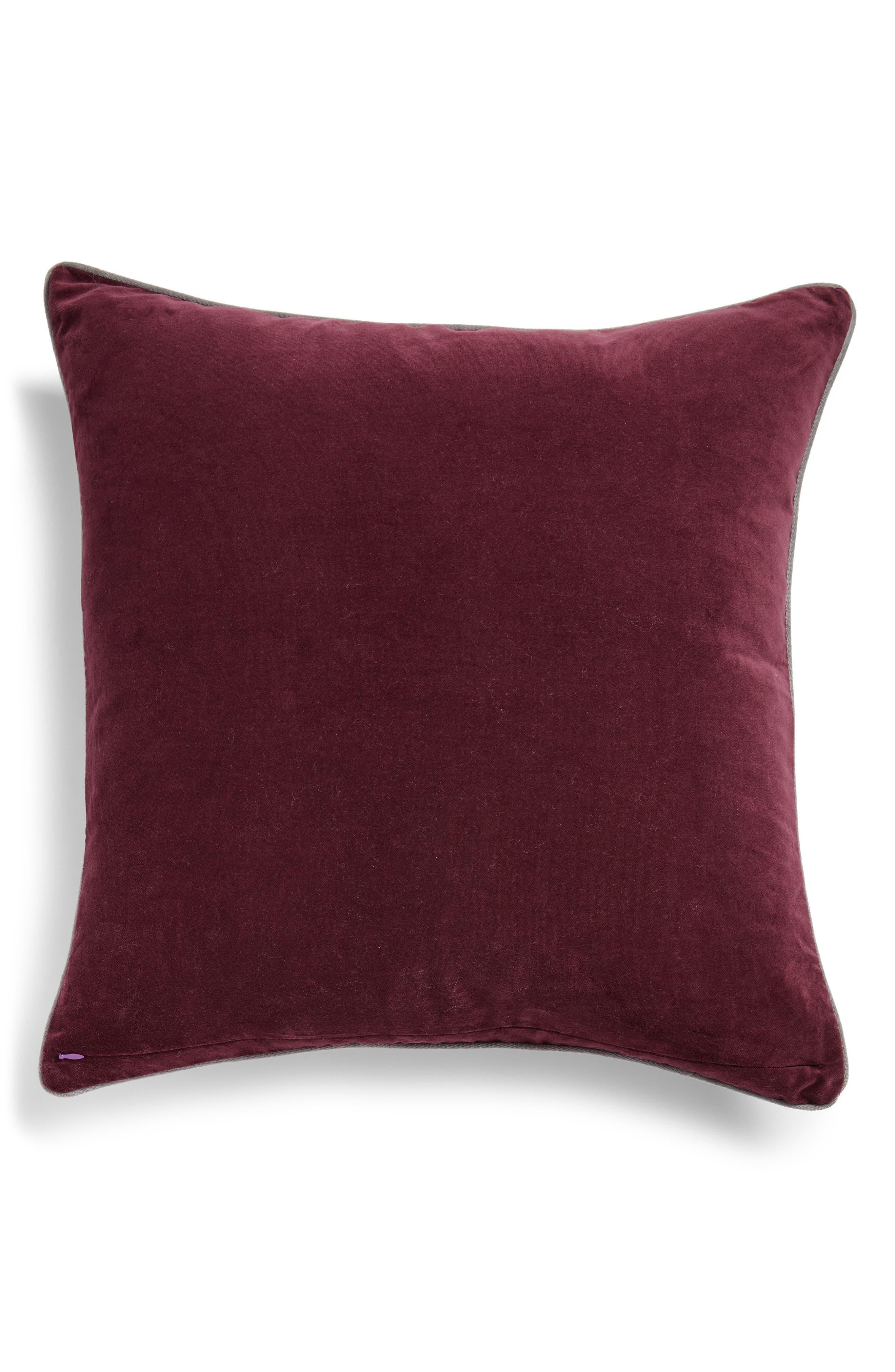 Velvet Border Accent Pillow,                             Alternate thumbnail 2, color,                             BURGUNDY STEM