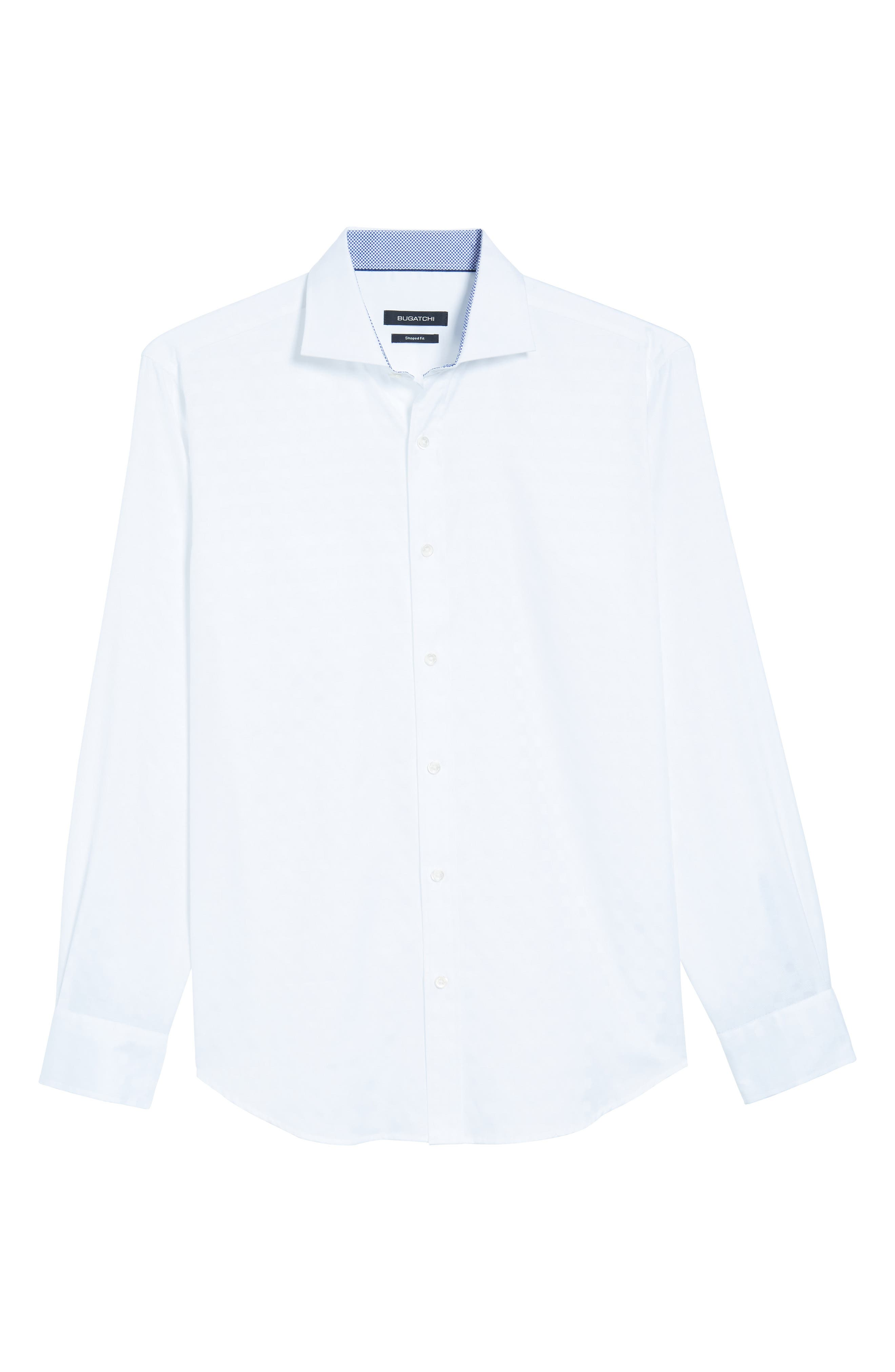 Shaped Fit Tonal Check Sport Shirt,                             Alternate thumbnail 6, color,                             WHITE