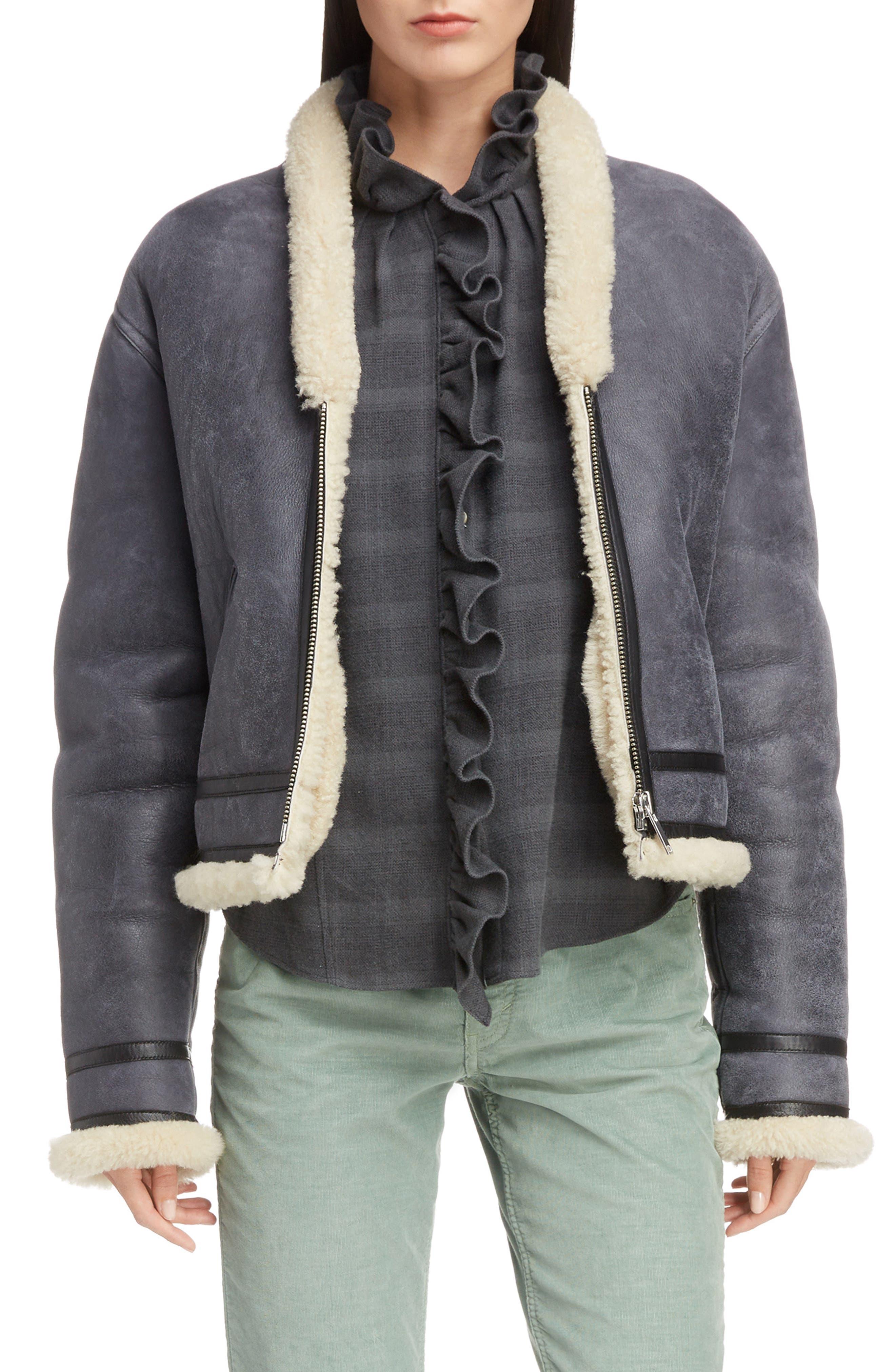 Isabel Marant Etoile Addy Genuine Shearling Jacket, 6 FR - Grey
