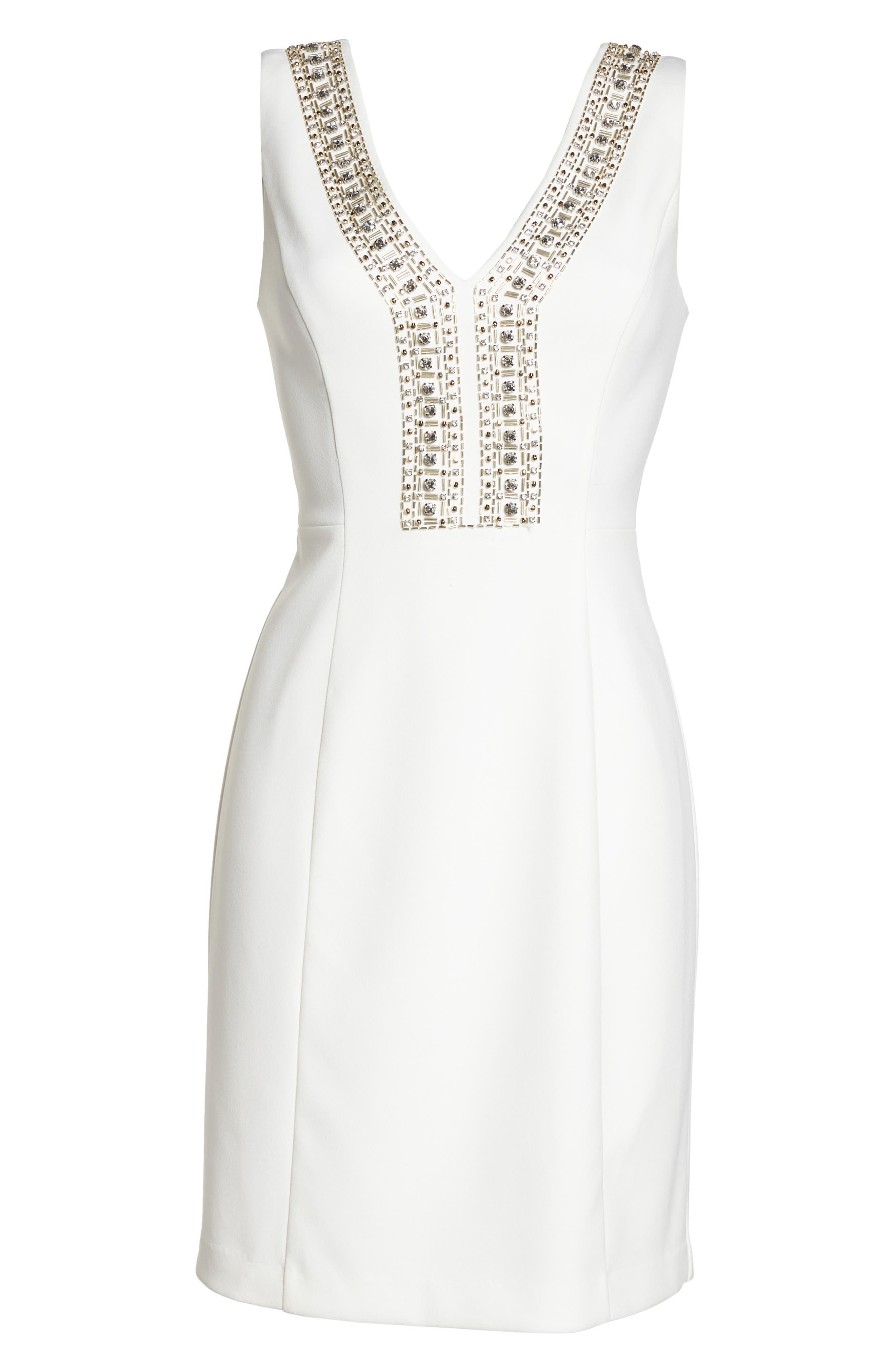 Beaded V-Neck Sheath Dress,                             Alternate thumbnail 6, color,                             900