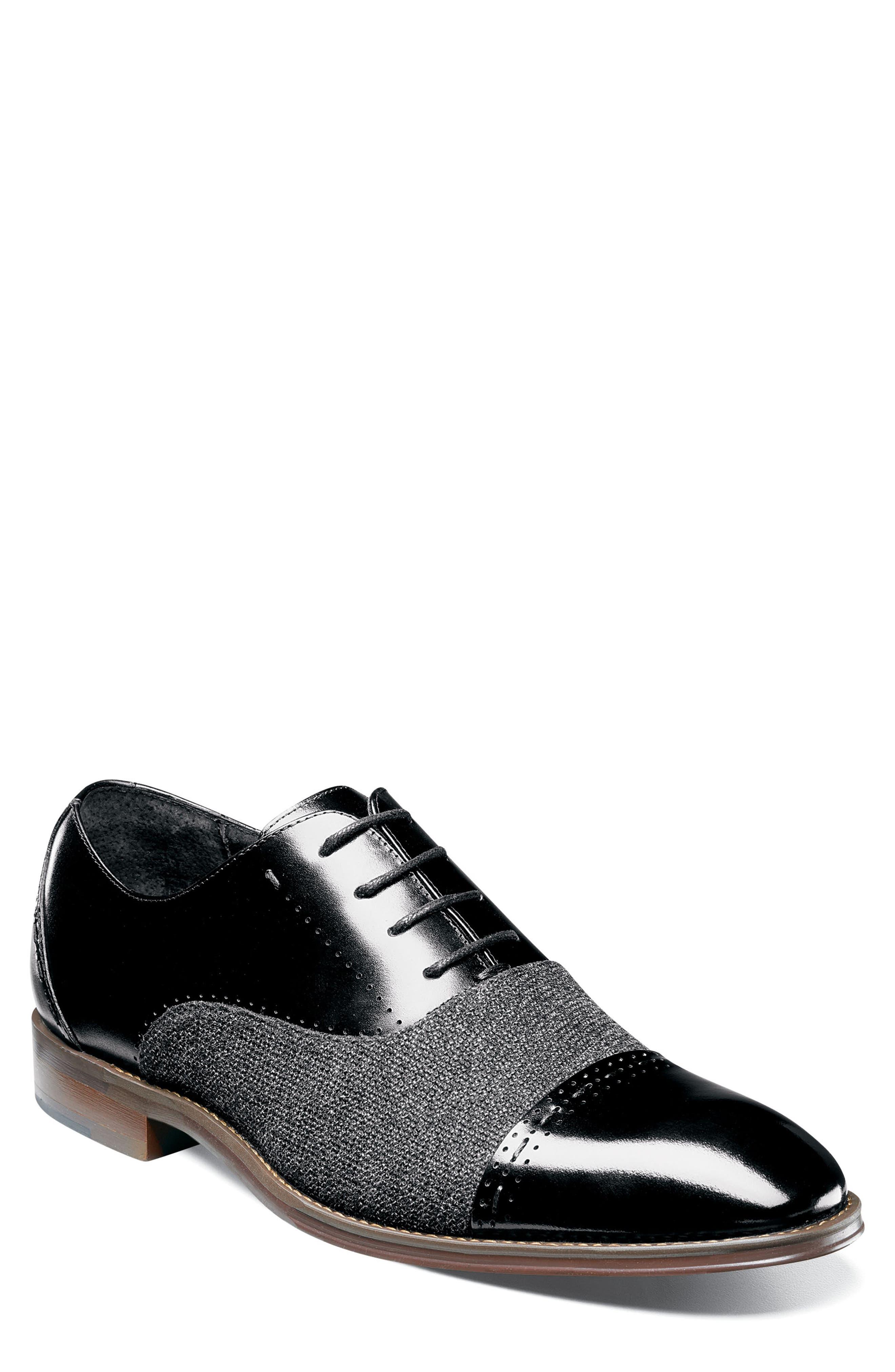 Barrington Cap Toe Oxford,                         Main,                         color, BLACK LEATHER/ FABRIC
