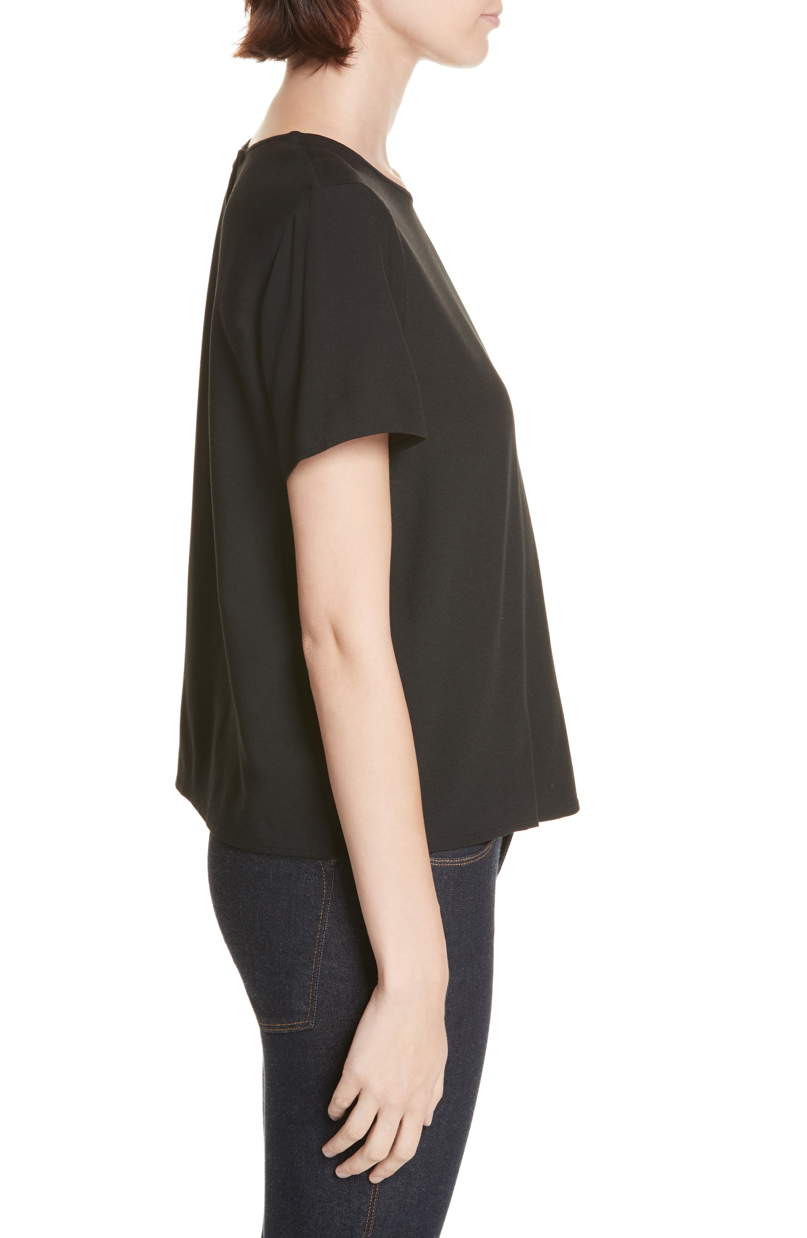 Crepe Tee,                             Alternate thumbnail 3, color,                             BLACK