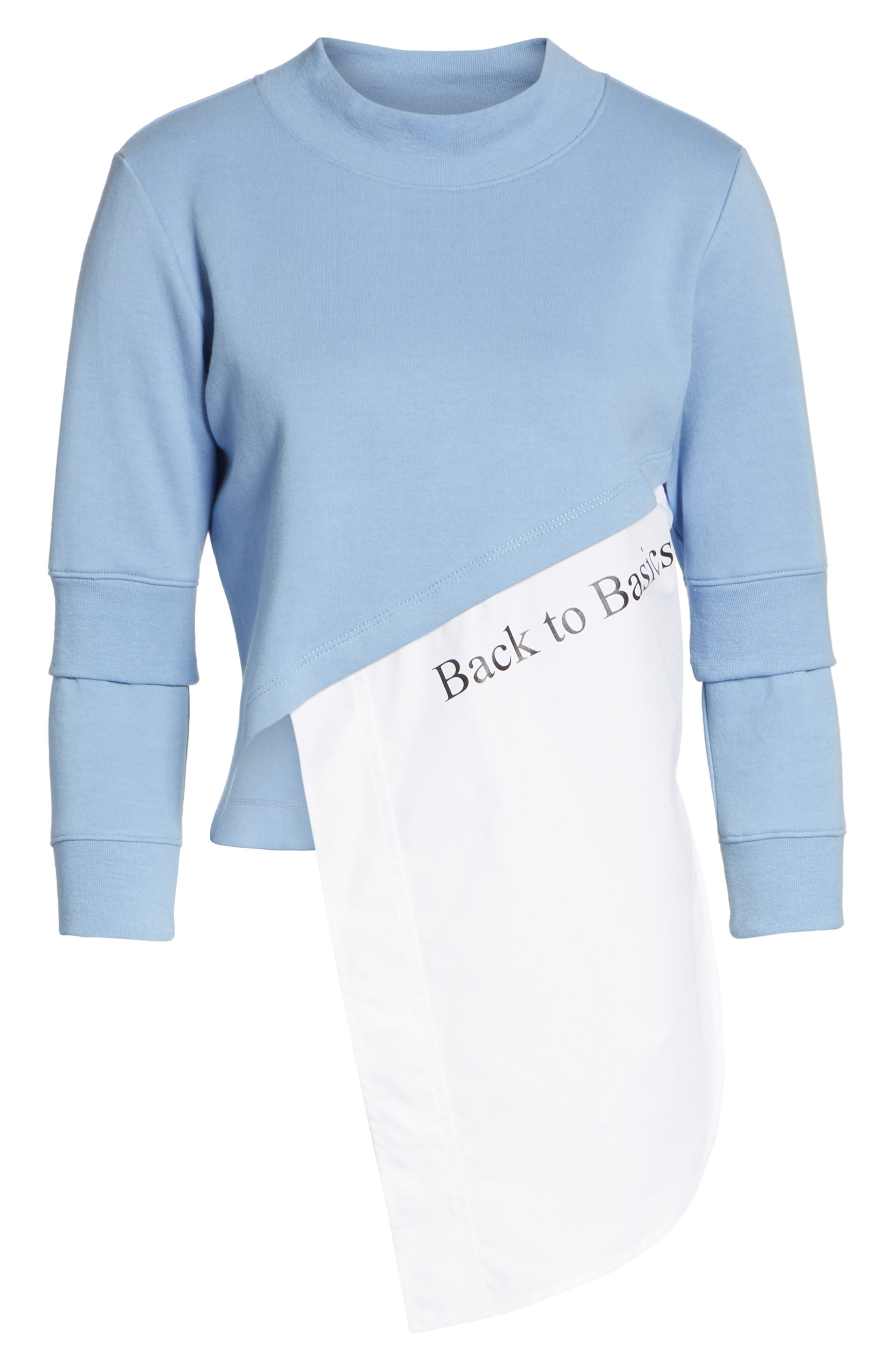 Asymmetrical Mixed Media Sweatshirt,                             Alternate thumbnail 6, color,                             LIGHT BLUE/ WHITE