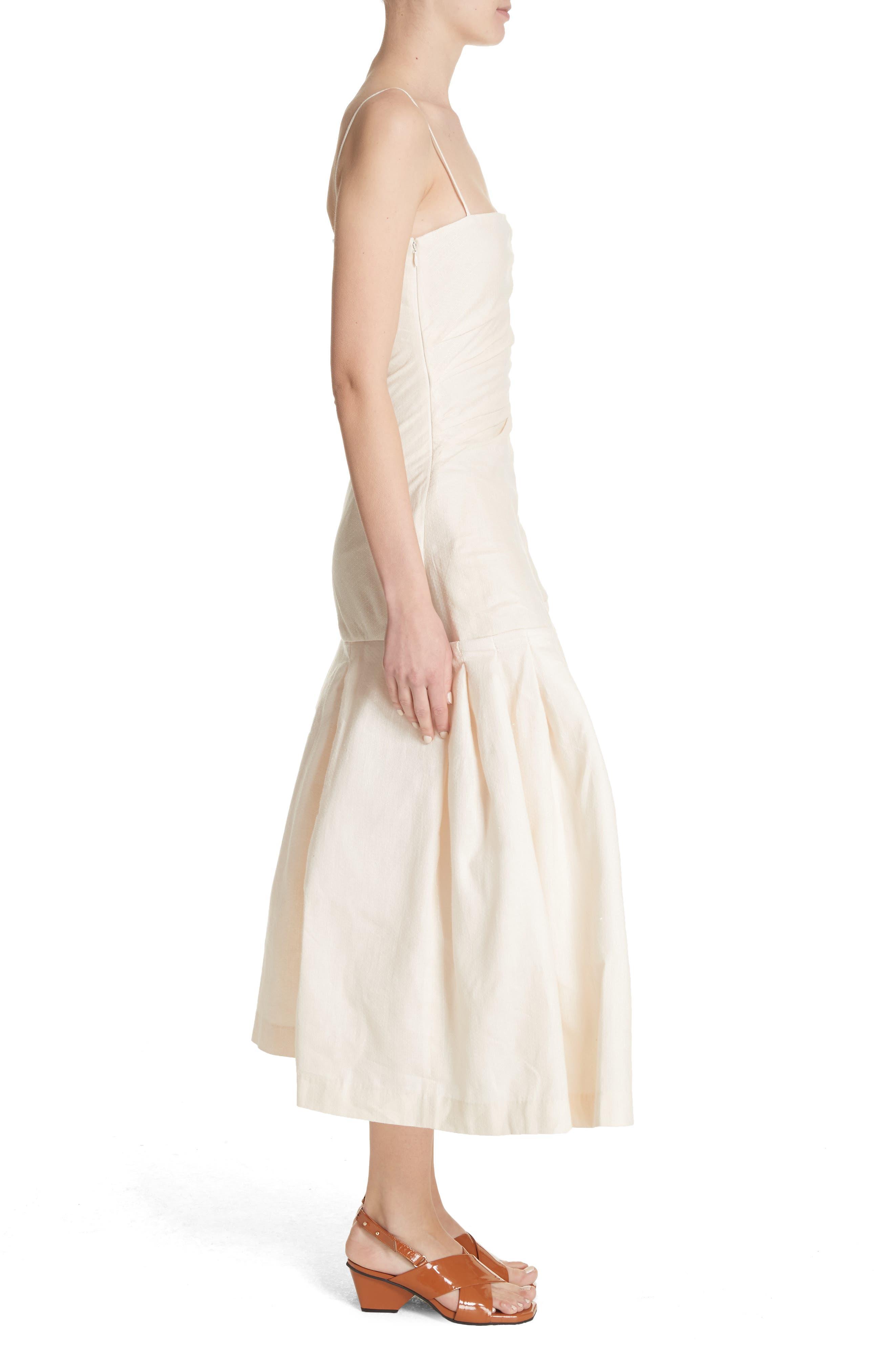 La Robe Limao Linen & Cotton Trumpet Dress,                             Alternate thumbnail 3, color,                             250