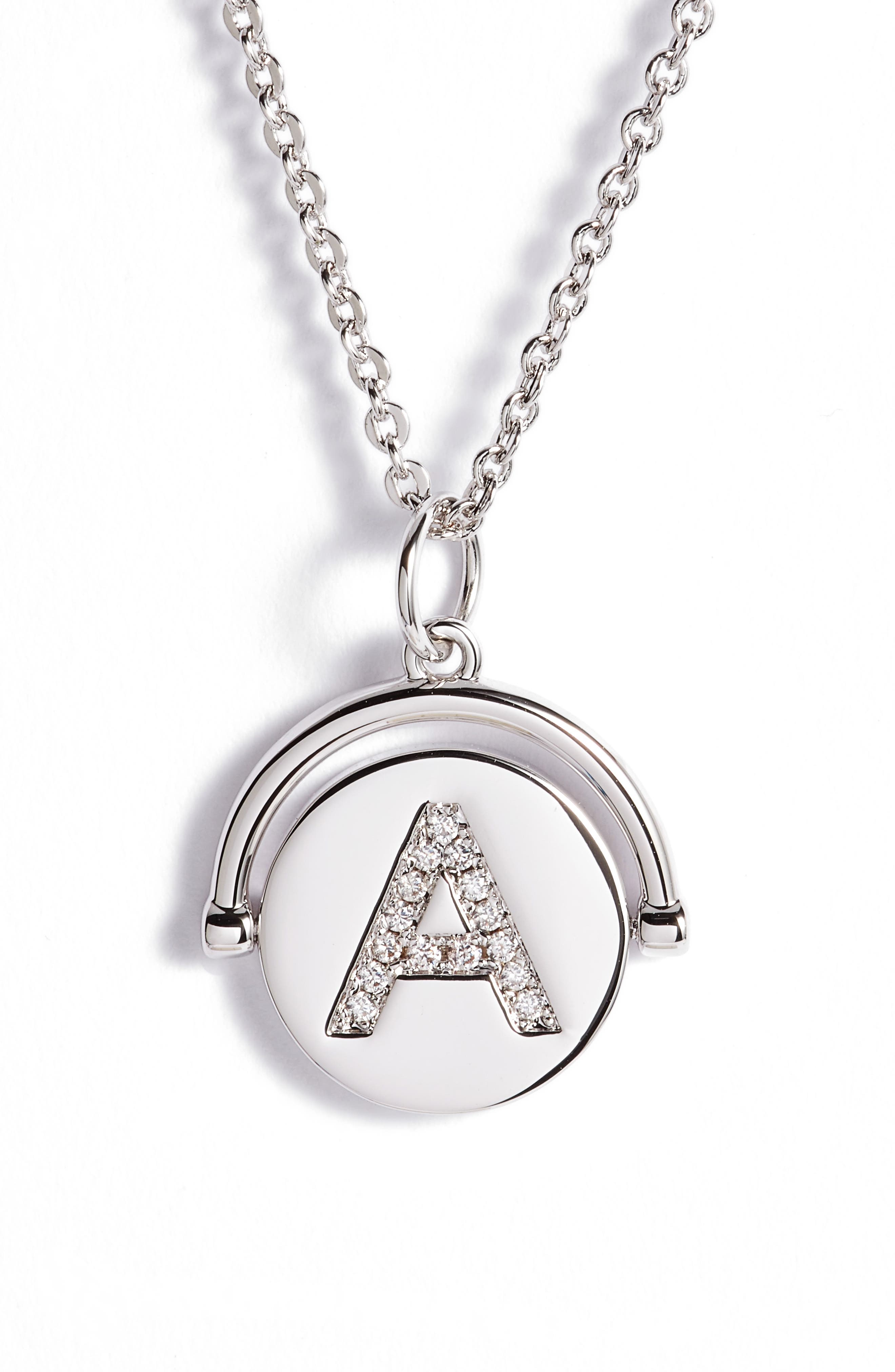 Love Letters Initial Spinning Pendant Necklace,                             Main thumbnail 1, color,                             040