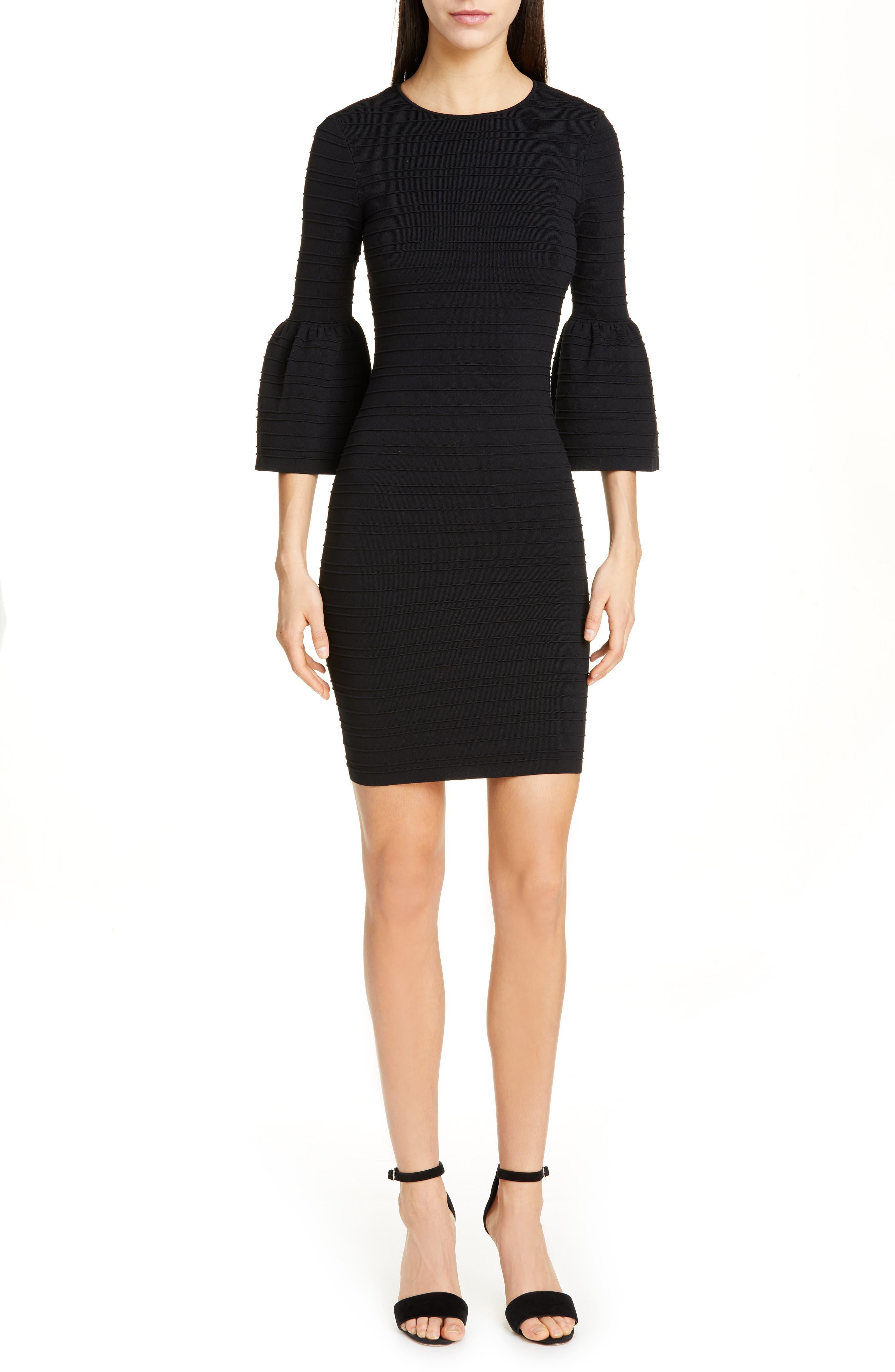 Ted Baker London Yansiaa Bell Sleeve Body-Con Dress, Black
